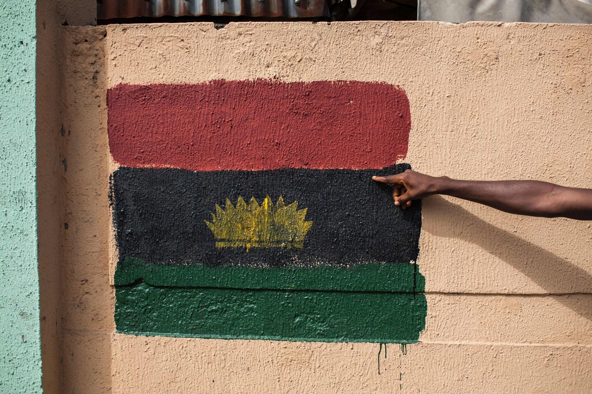 Biafra flag graffiti