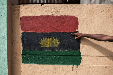 Biafra flag graffiti