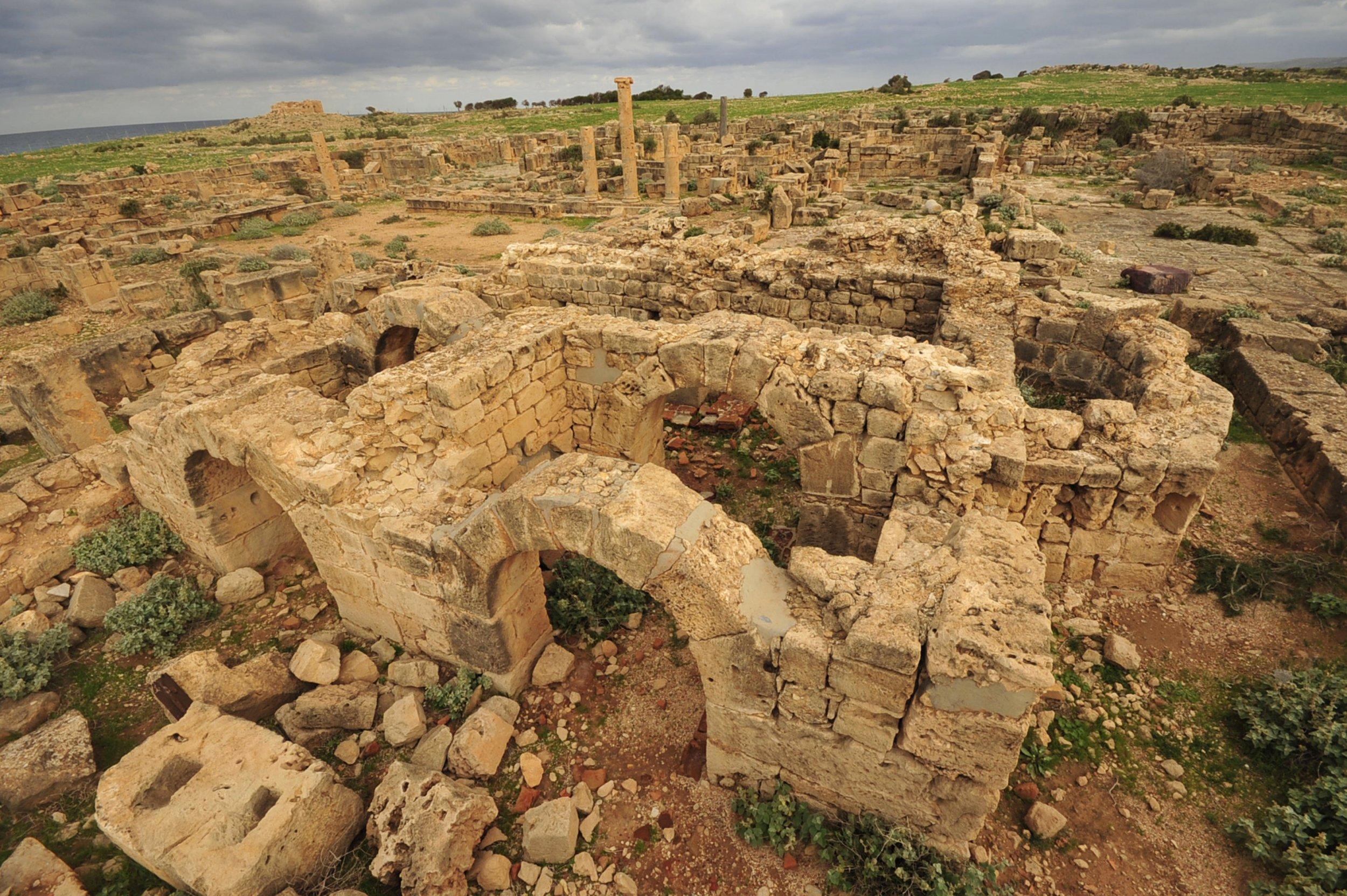 A part of the ancient city of Ptolemais, Libya