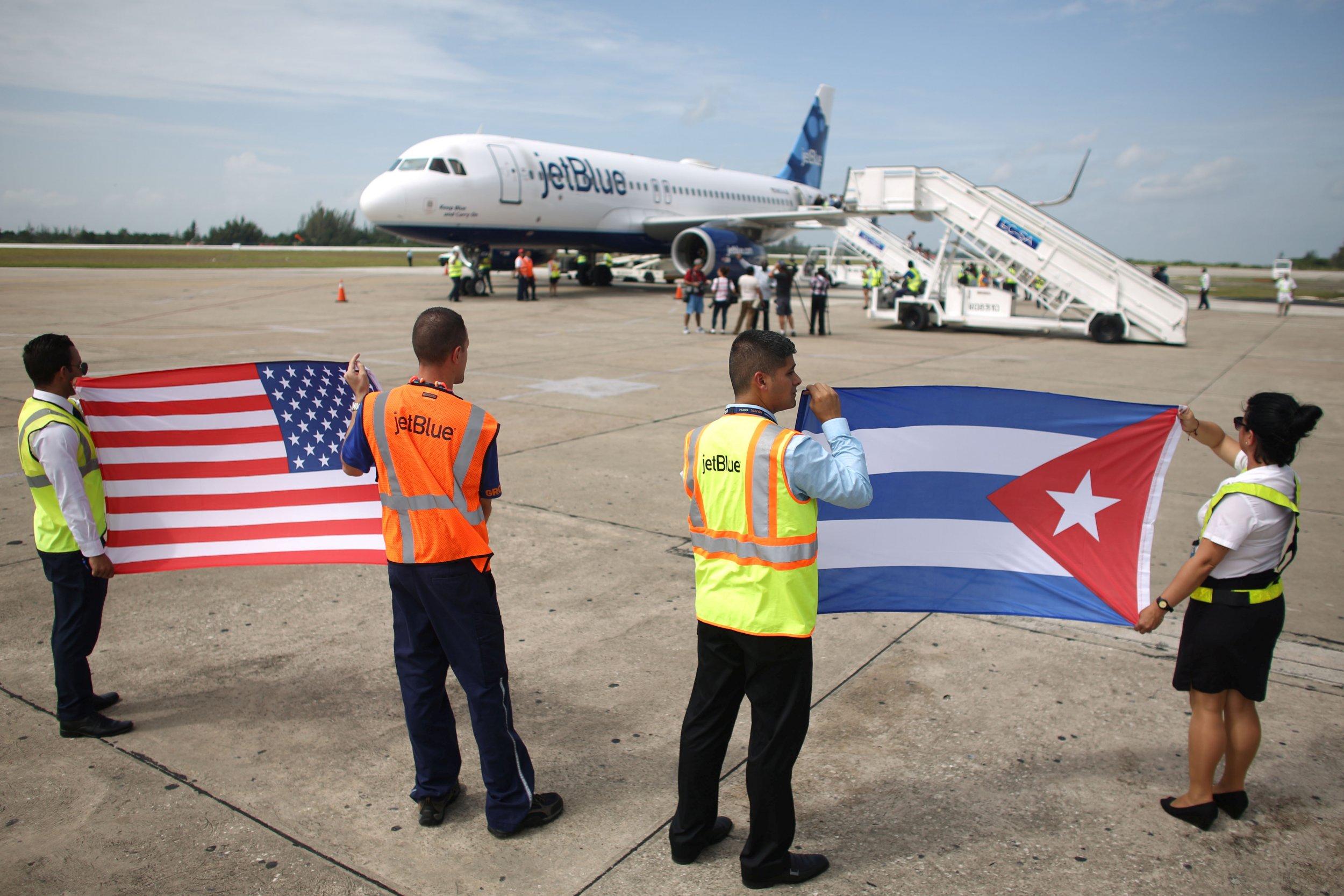 U.S. and Cuban flags