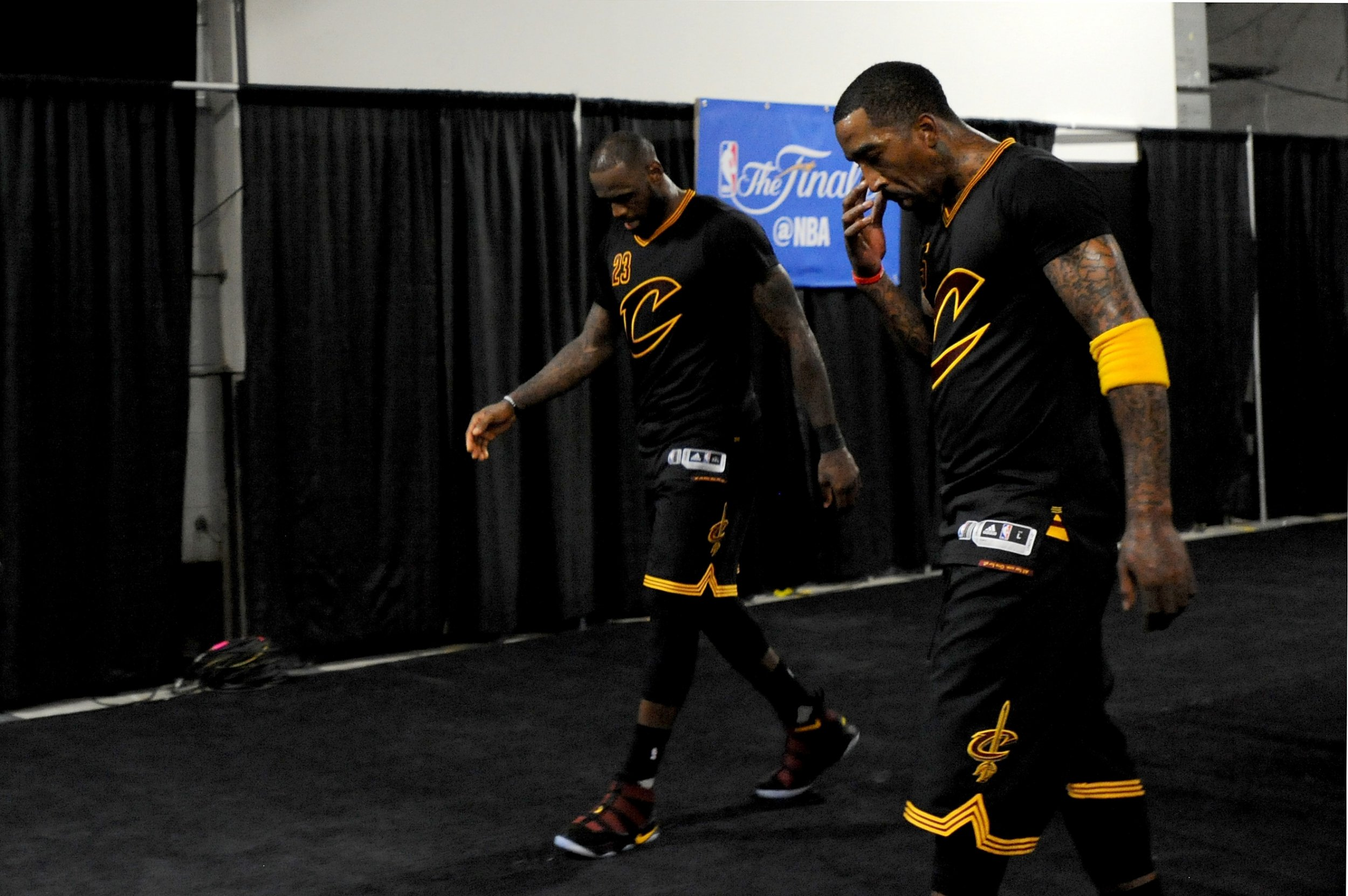 LeBron James, left, and JR Smith of the Cleveland Cavaliers at Oracle Arena, Oakland, June 12.