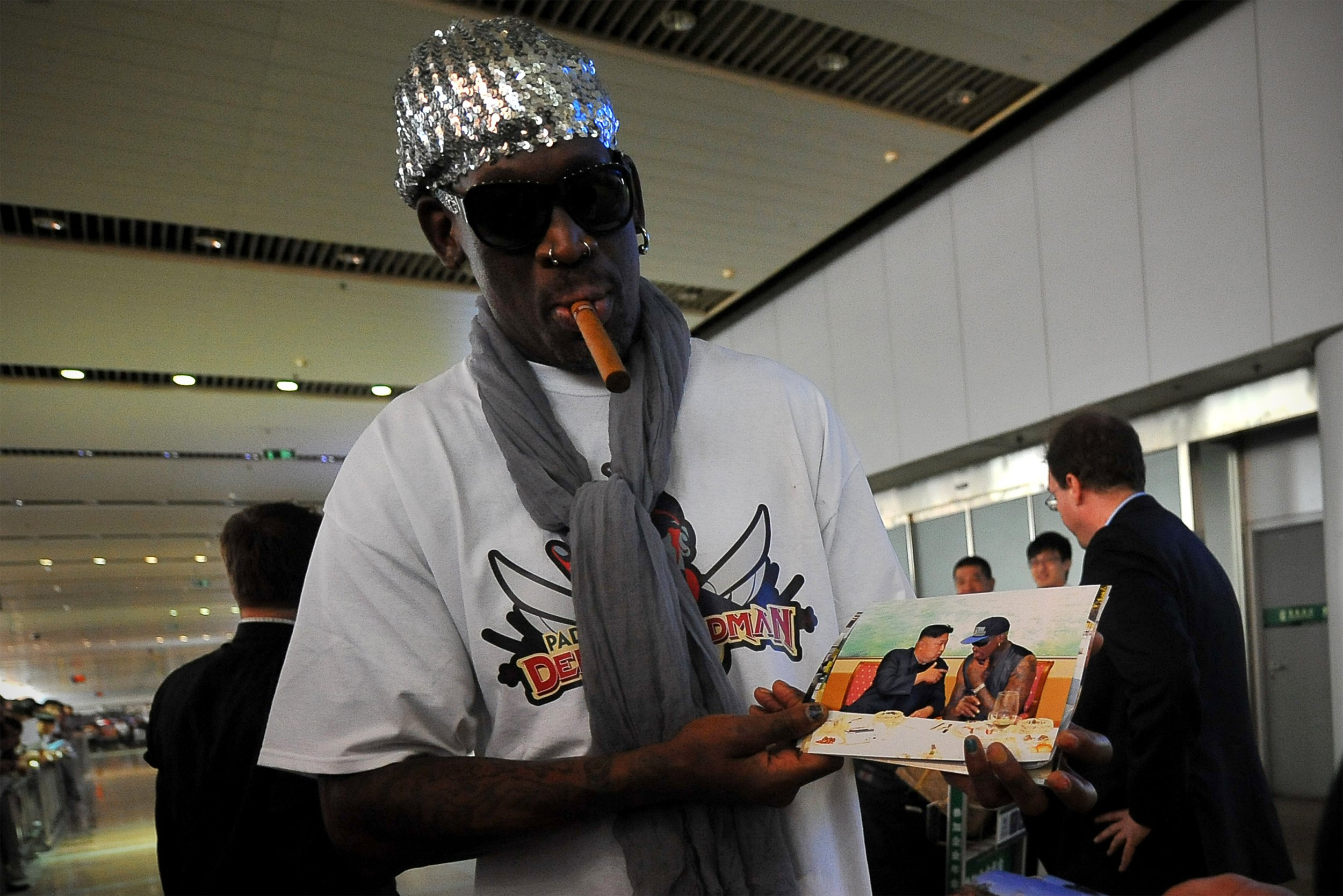 Former NBA star Dennis Rodman at Beijing International Airport, China, September 7 2013.