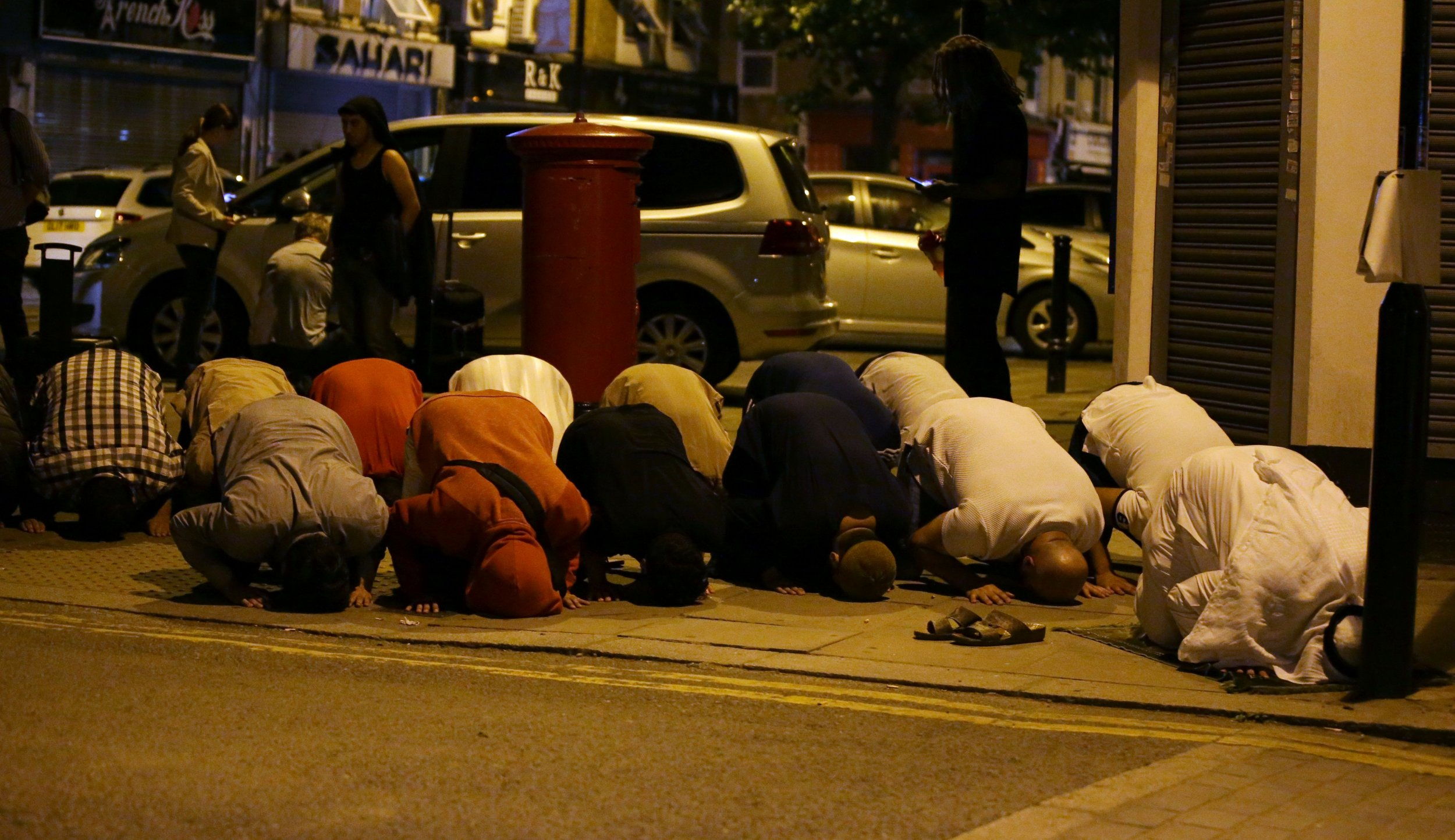 Muslim worshippers North London