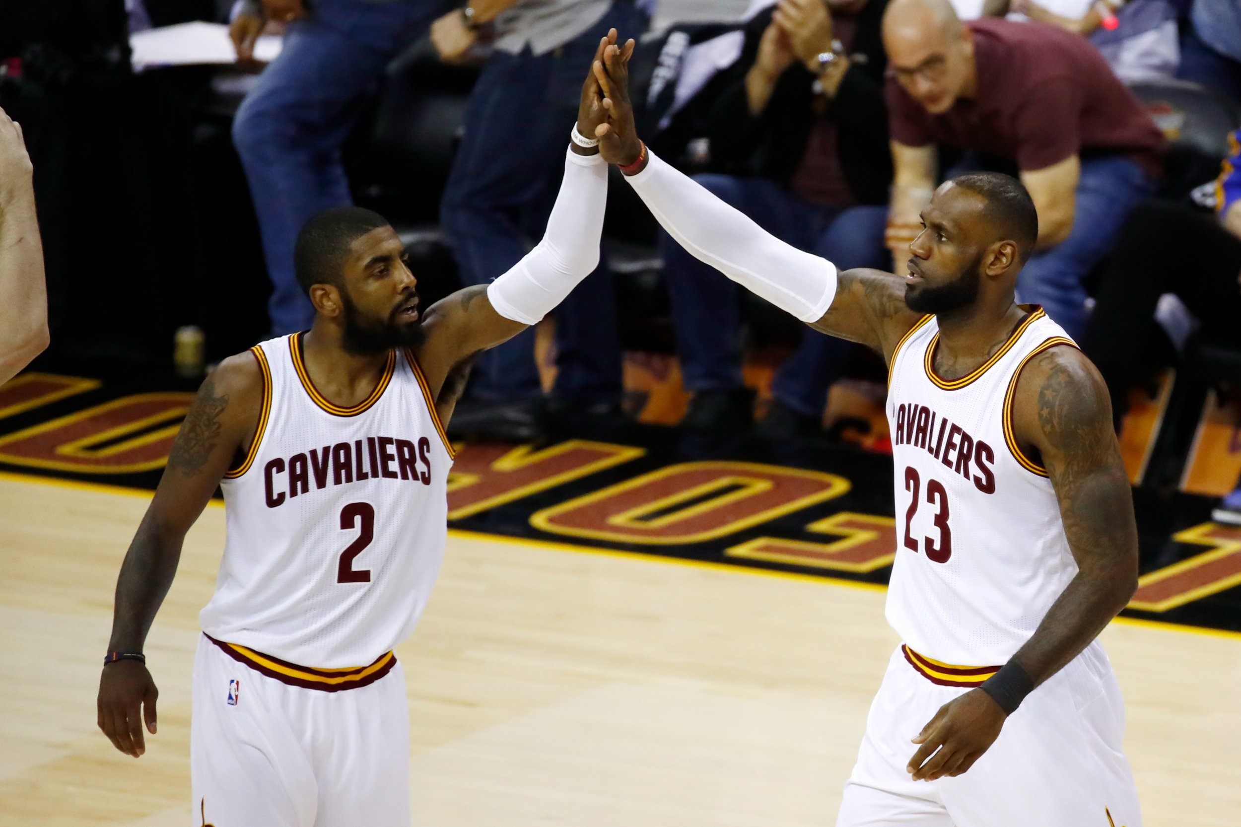 Kyrie Irving, left, and LeBron James of the Cleveland Cavaliers.