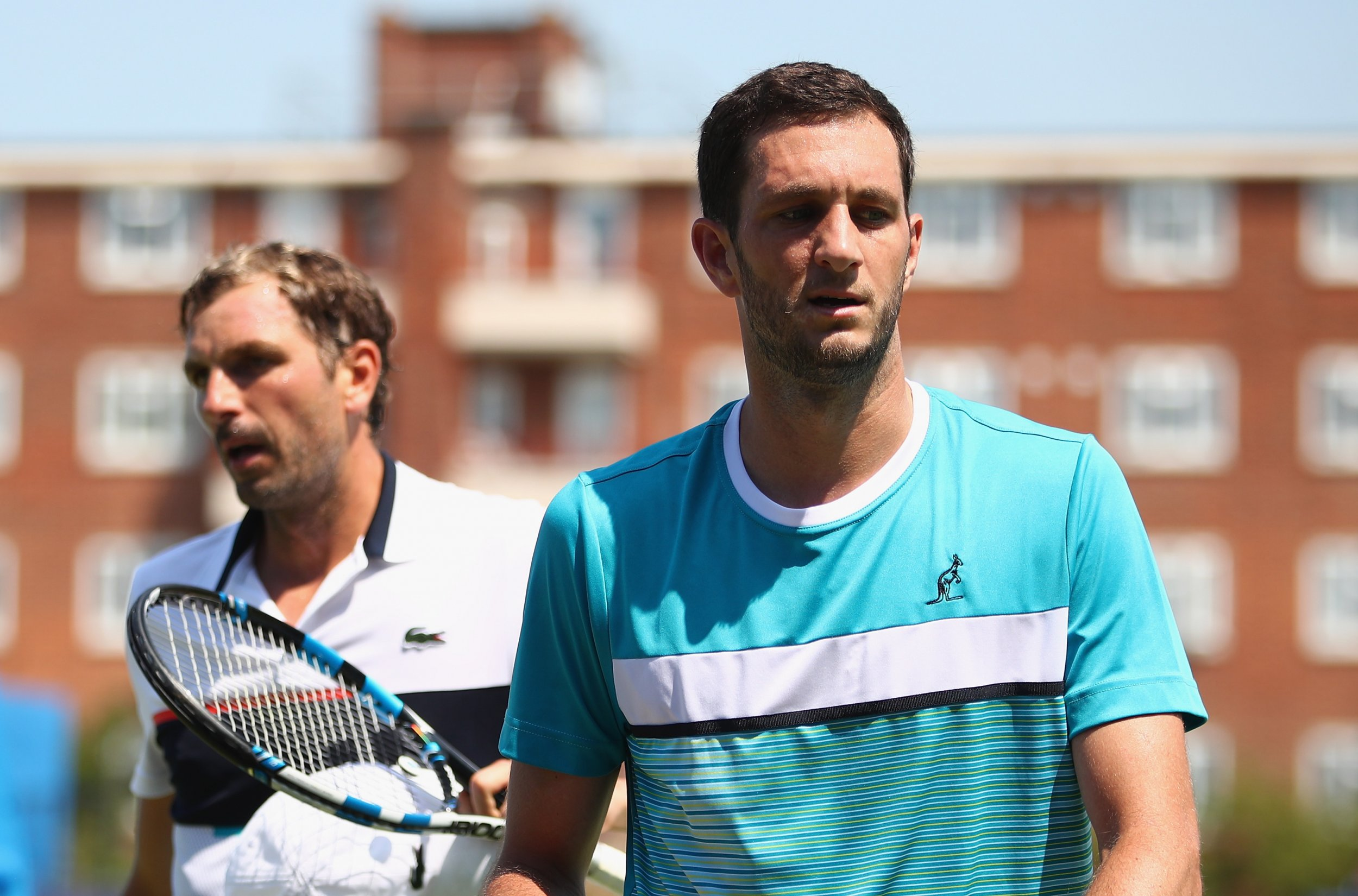 James Ward of Great Britain, right, at Queens Club, London, June 20.