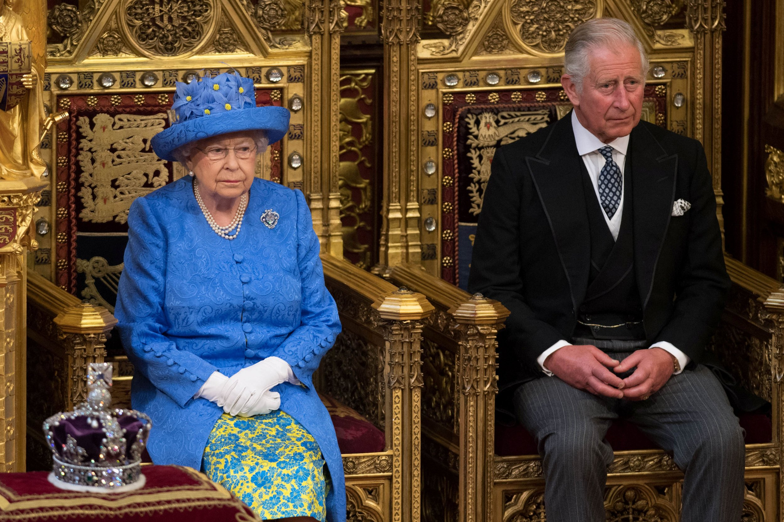 Queen Elizabeth II with heir apparent Prince Charles