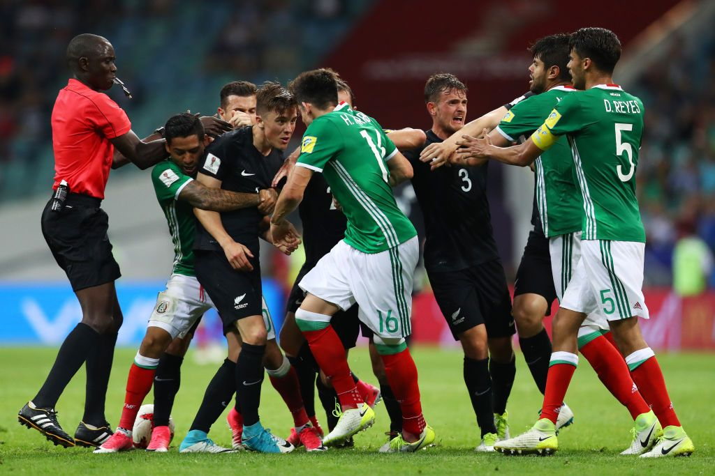Mexico and New Zealand Players Clash