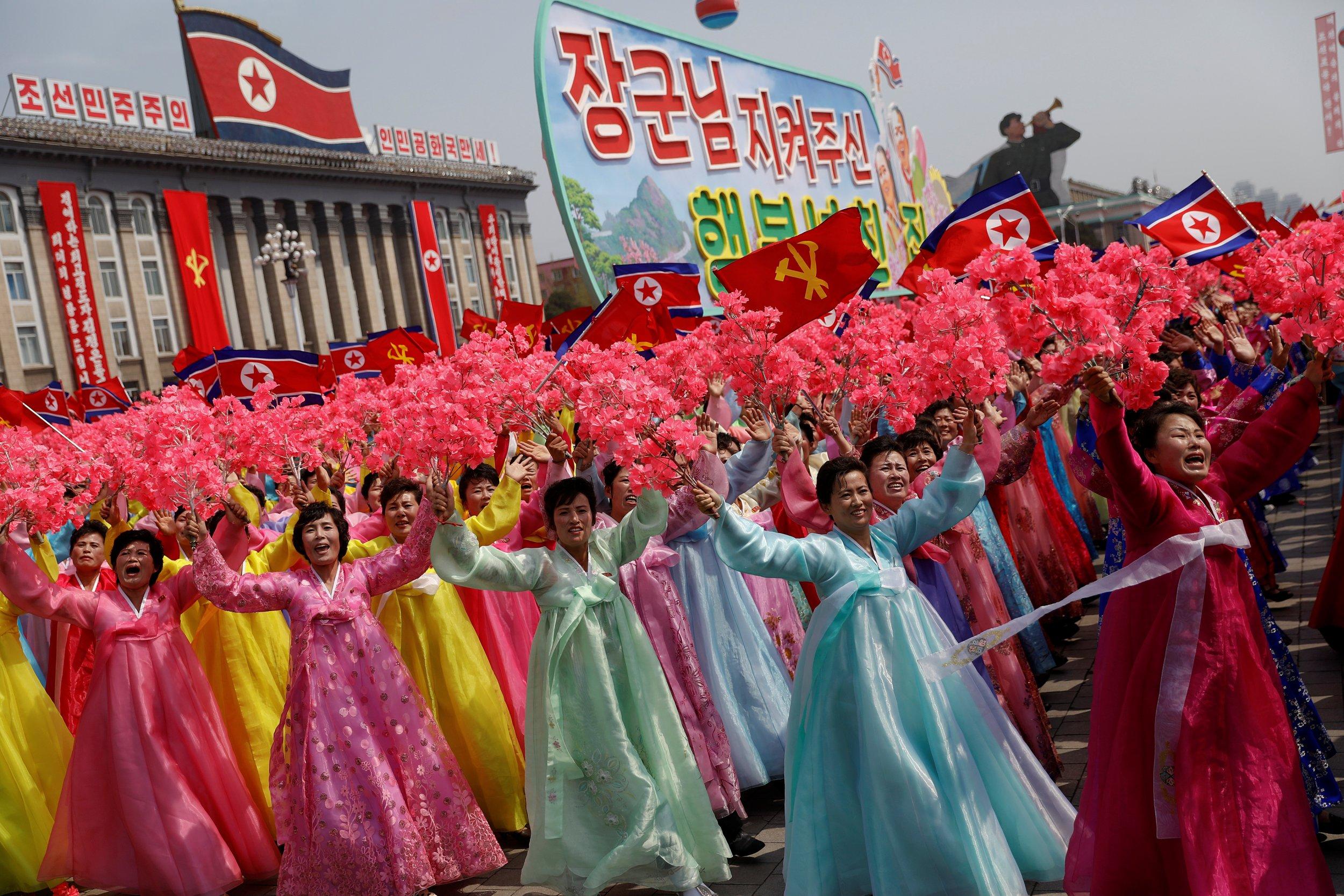 North Korean women celebrate