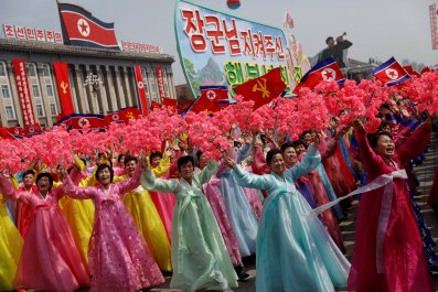 North Korean women celebrate