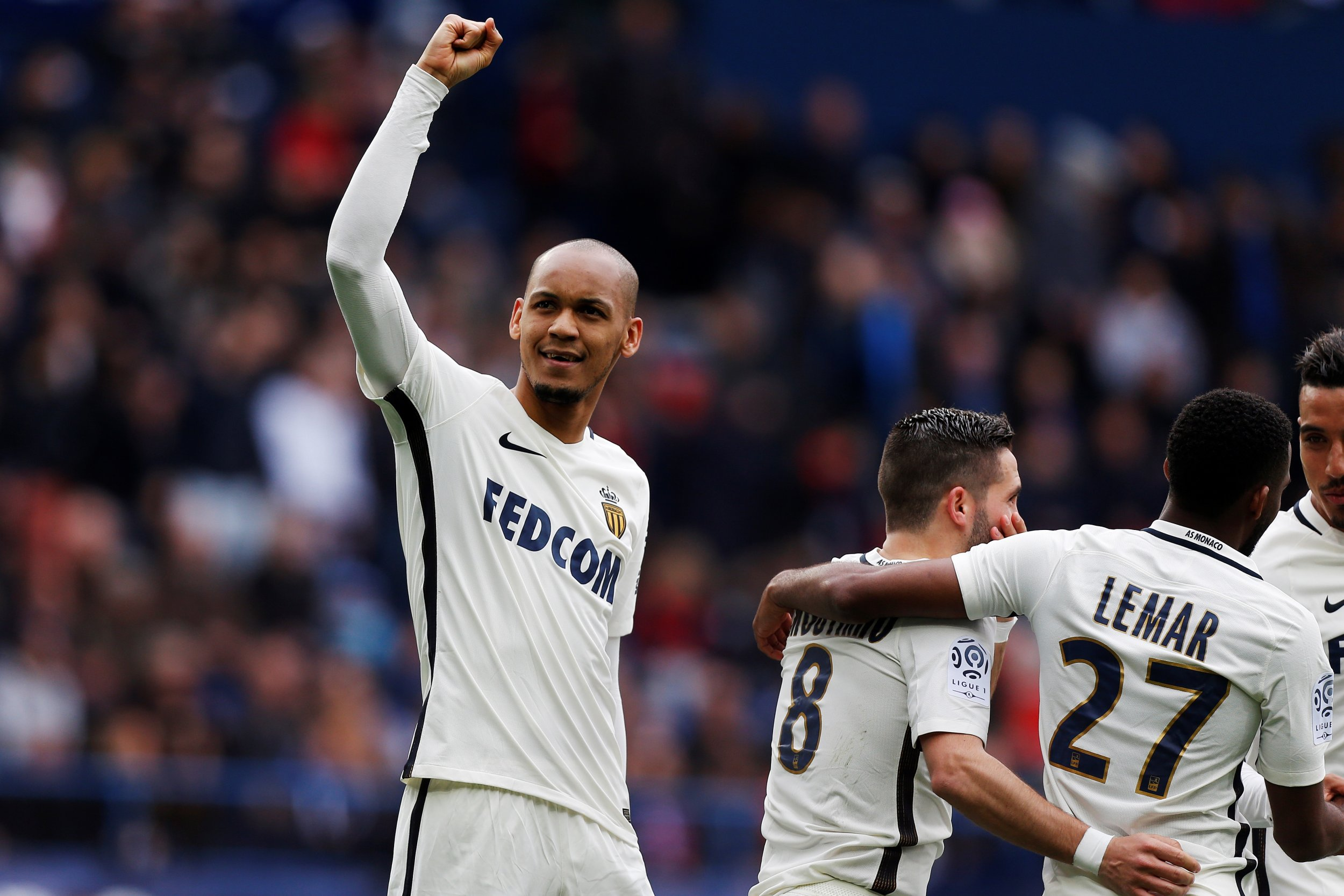 Monaco's Brazilian midfielder Fabinho, left, at the Michel d'Ornano stadium in Caen, northwestern France, March 19.