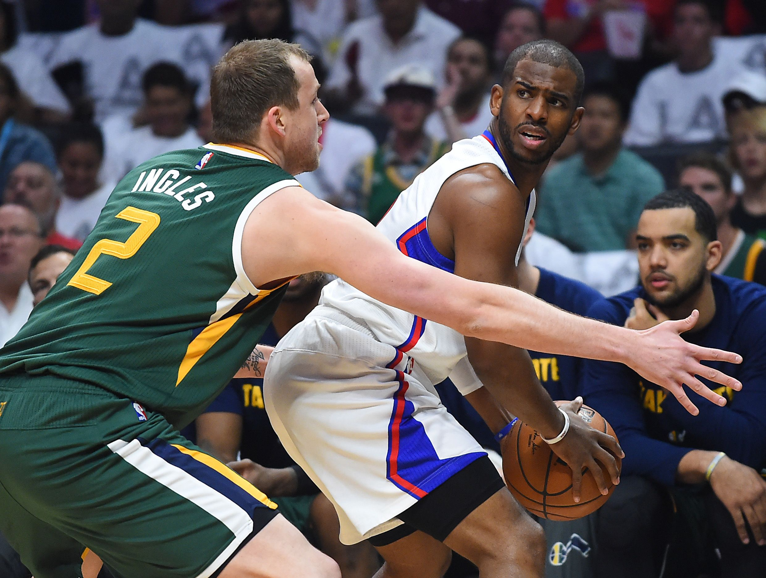 Los Angeles Clippers guard Chris Paul, right, at Staples Center, Los Angeles, April 30.