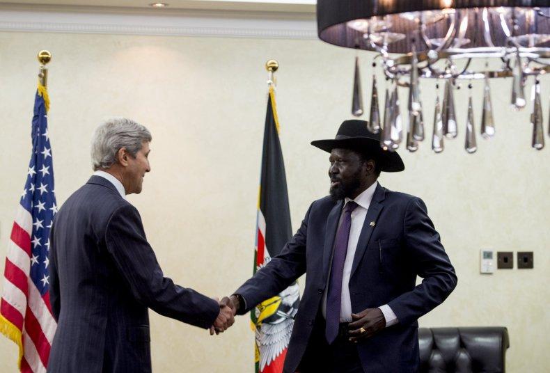 Salva Kiir and John Kerry