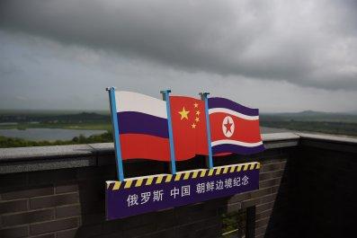 RussiaNorthKoreaChinaFlags