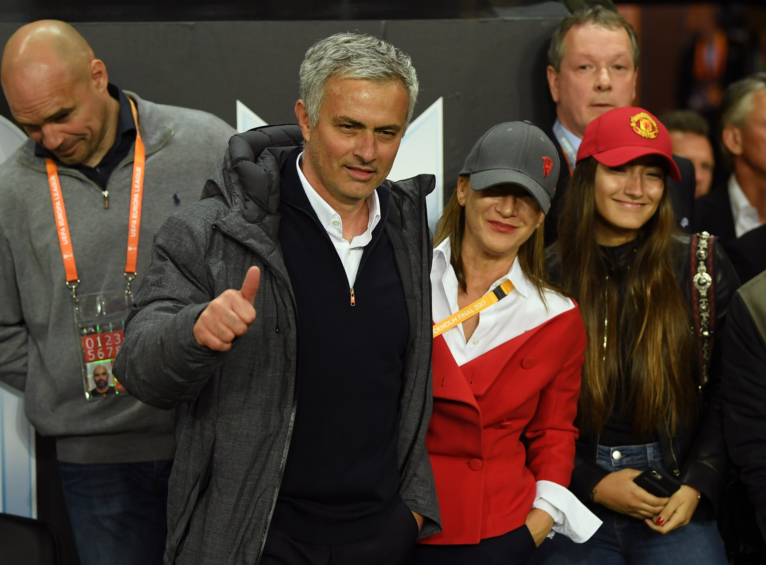Manchester United manager Jose Mourinho, center left.