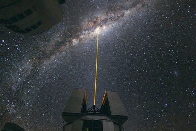A laser beam pointed at the center of the Milky Way.