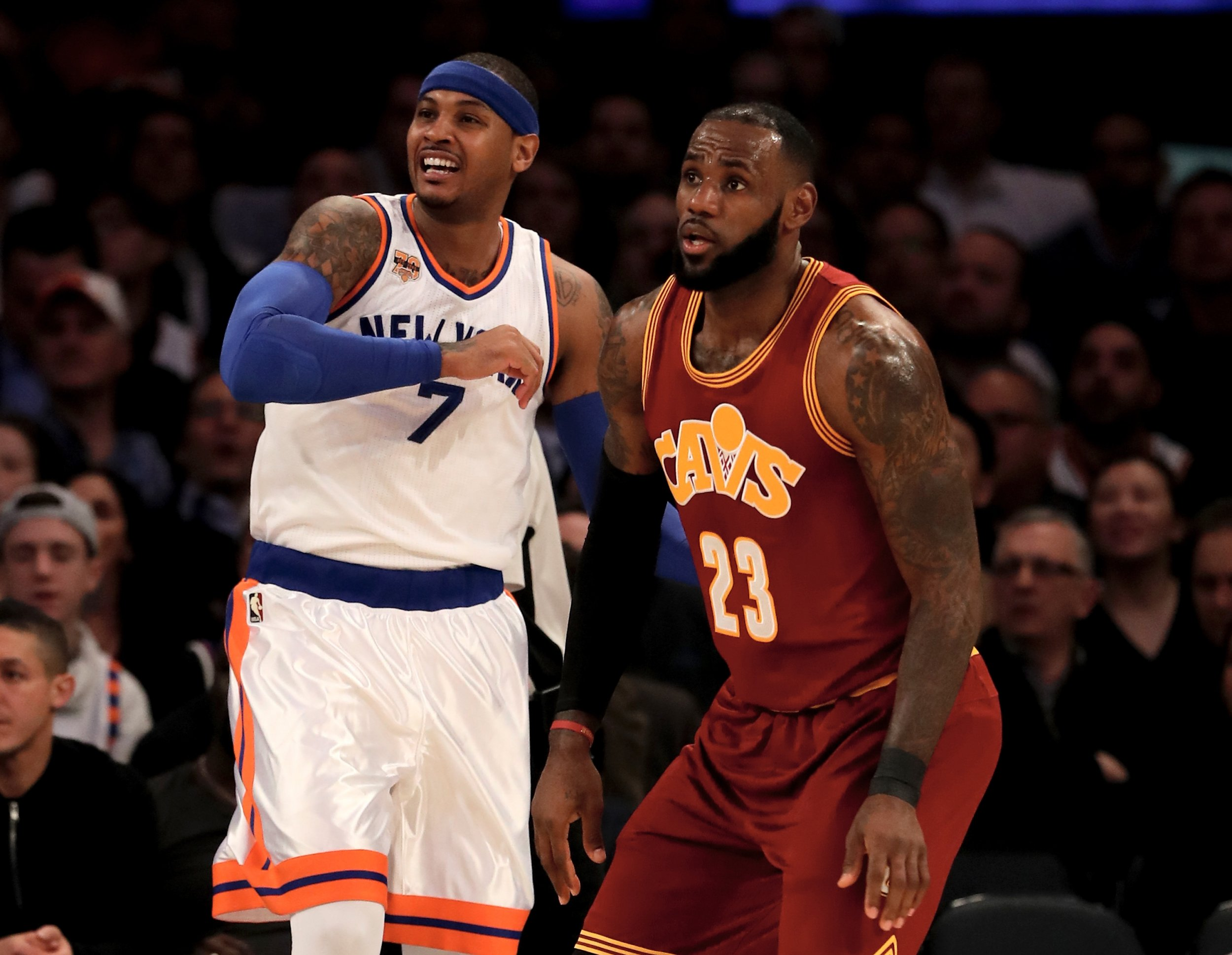 Carmelo Anthony, left, and LeBron James.