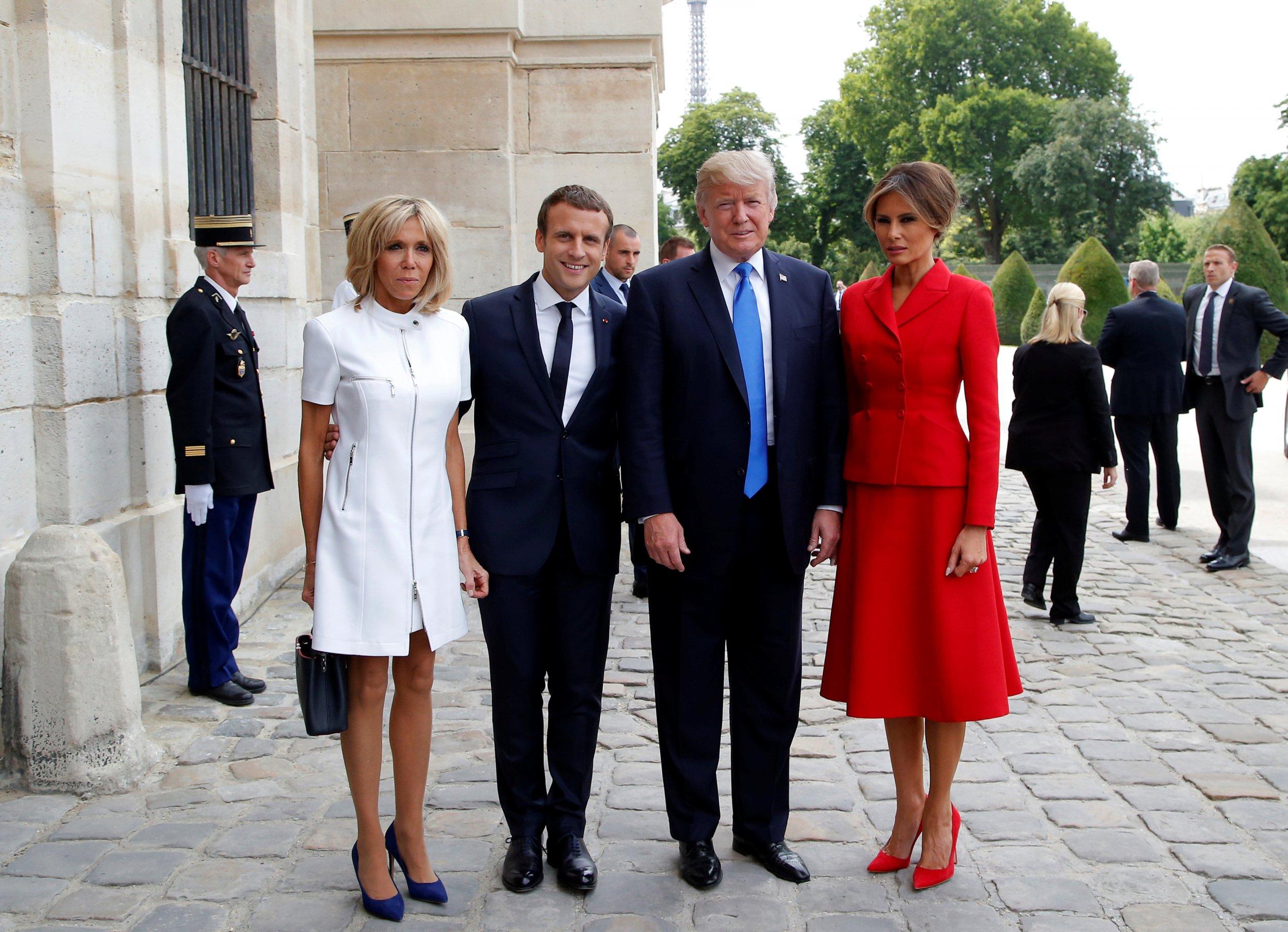 Brigitte, Emmanuel Macron, Donald, Melania Trump