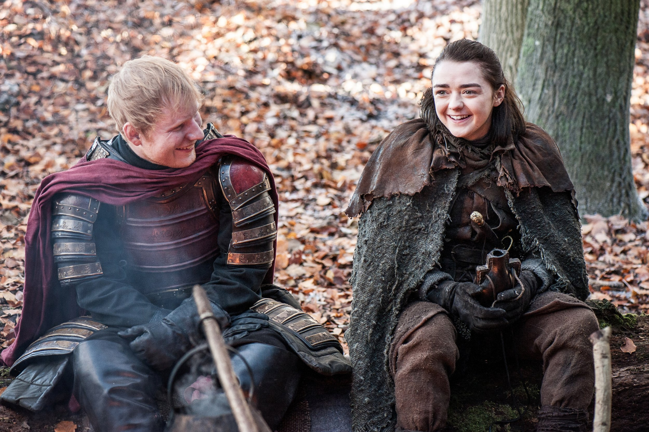 "Ed Sheeran and Maisie Williams in ""Game of Thrones"""