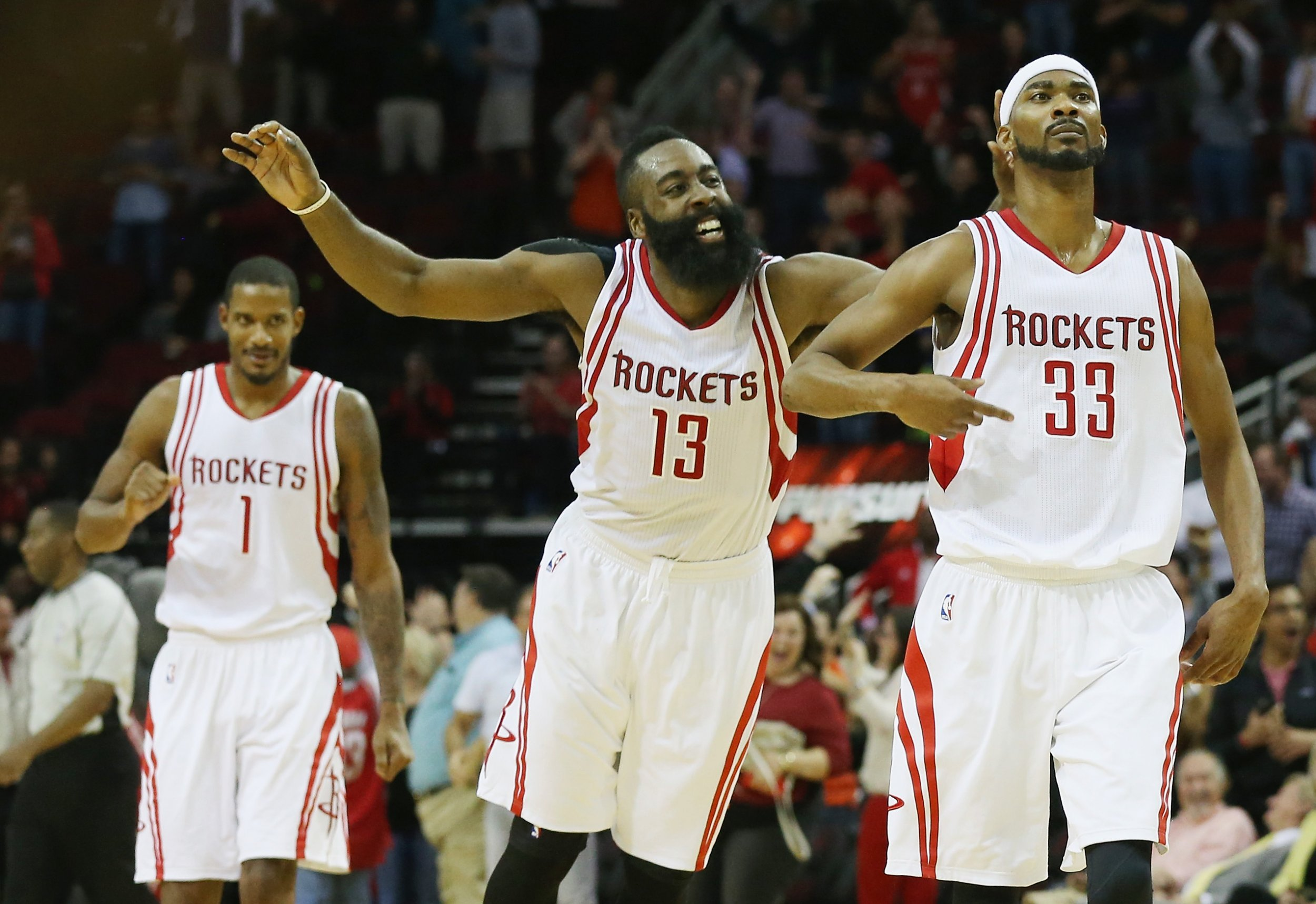 Houston Rockets guard James Harden, center.