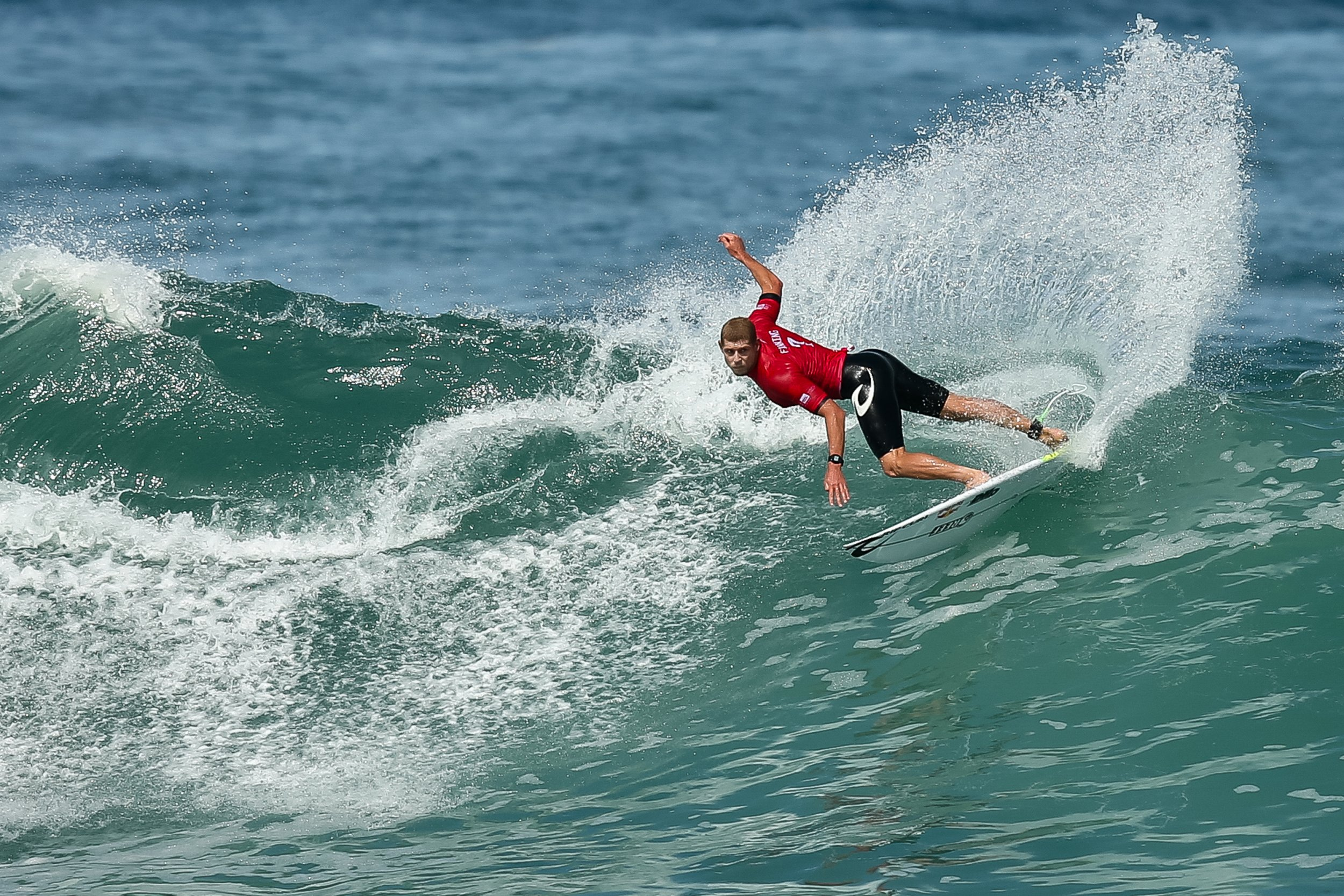 Mick Fanning of Australia surfs during the quarterfinals of the Oi Rio Pro 2017 at Itauna Beach on May 17.