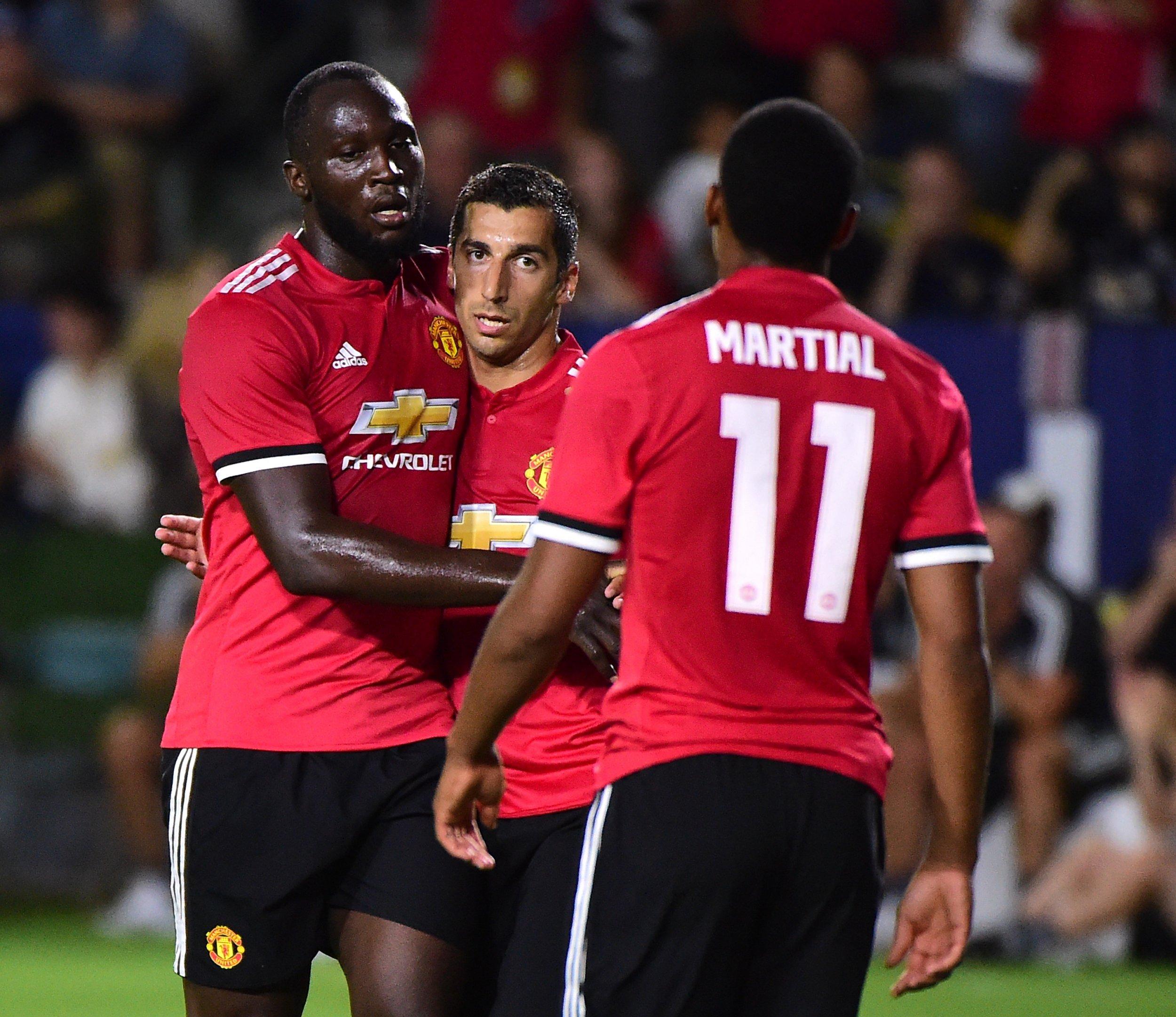 Manchester United striker Romelu Lukaku, far left.