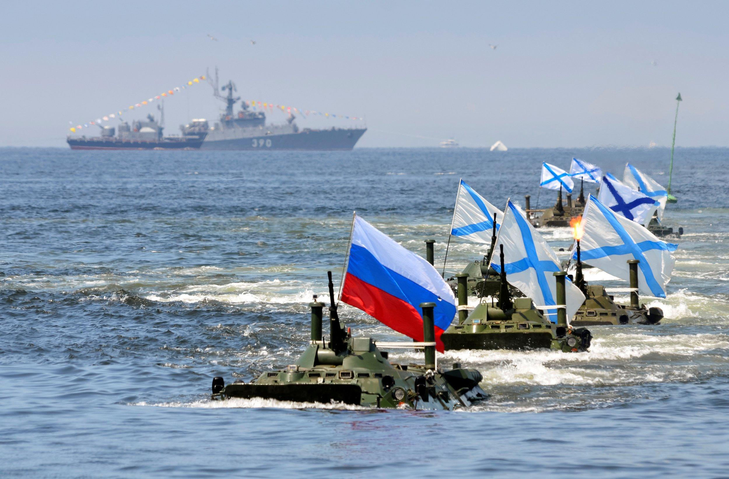 Russian navy day rehearsal
