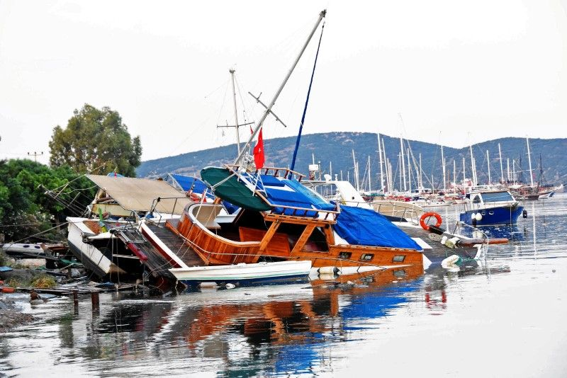 Boat after huge earthquake in Turkey and Greece
