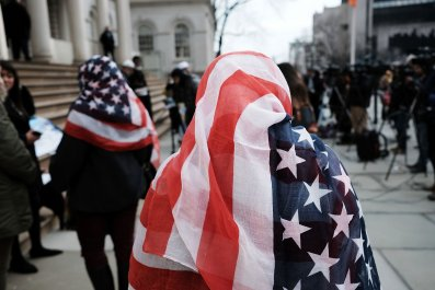 Woman wearing U.S. flag