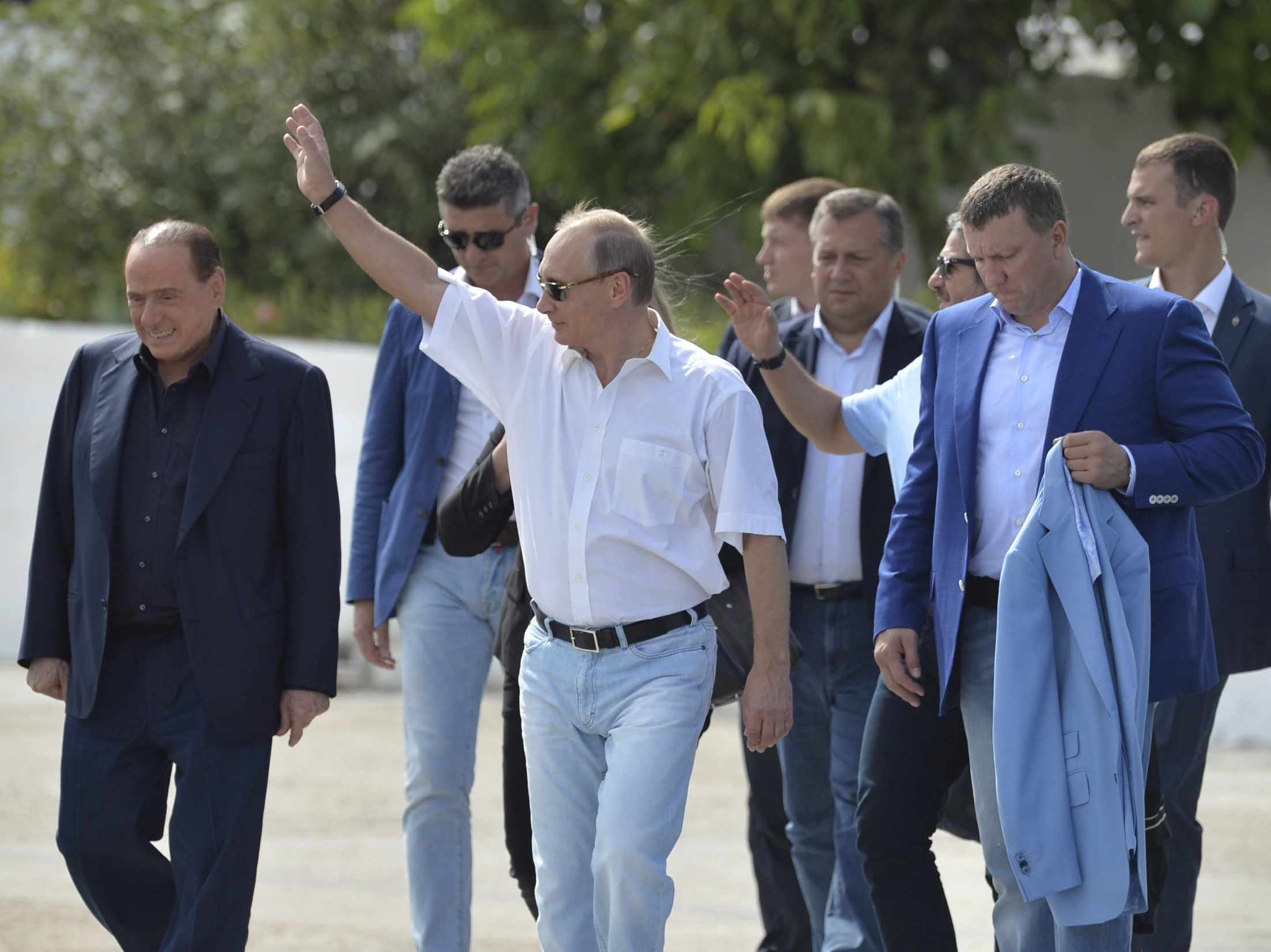 Putin and Berlusconi in Crimea