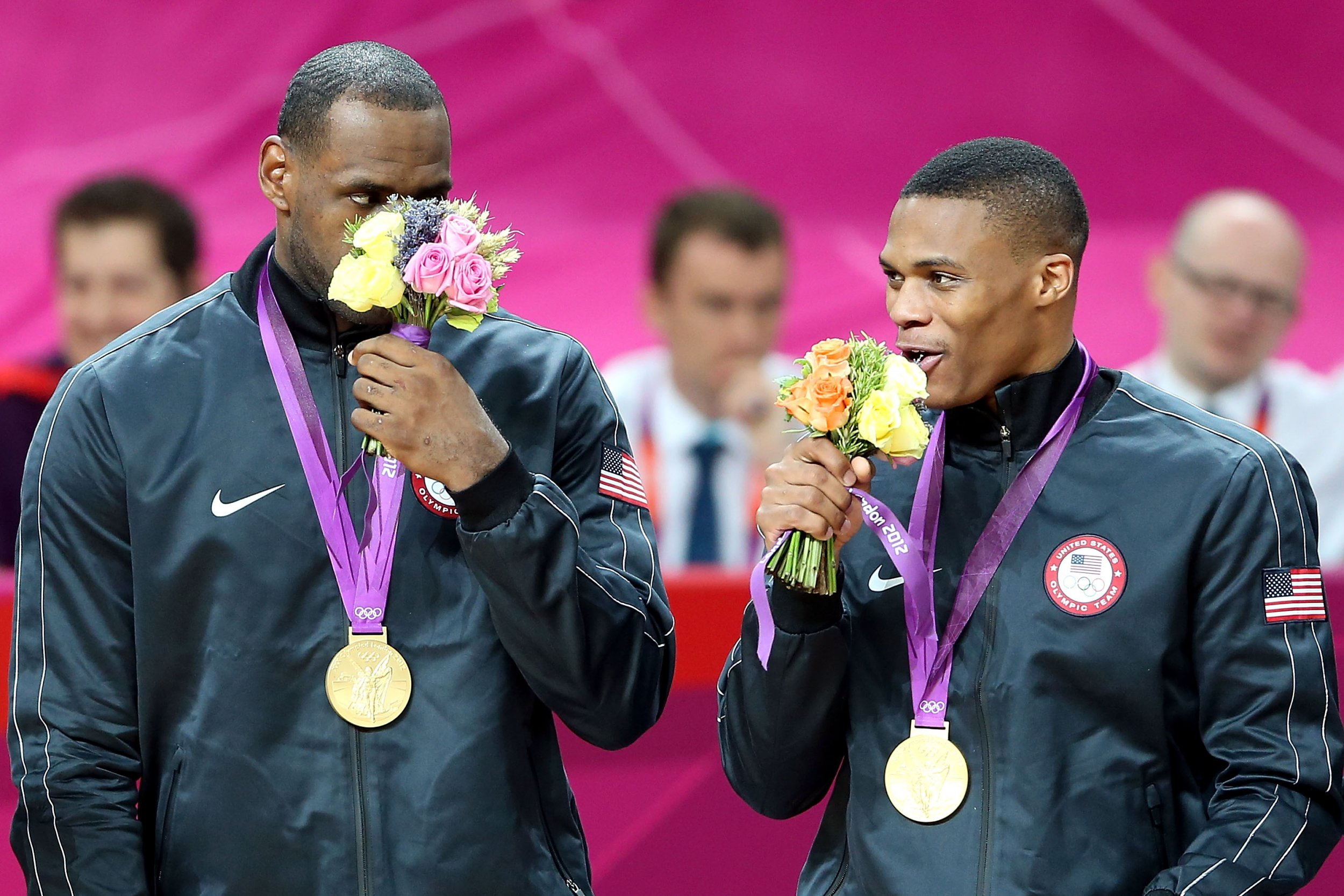 LeBron James and Russell Westbrook of the United States in London, England, August 12 2012.
