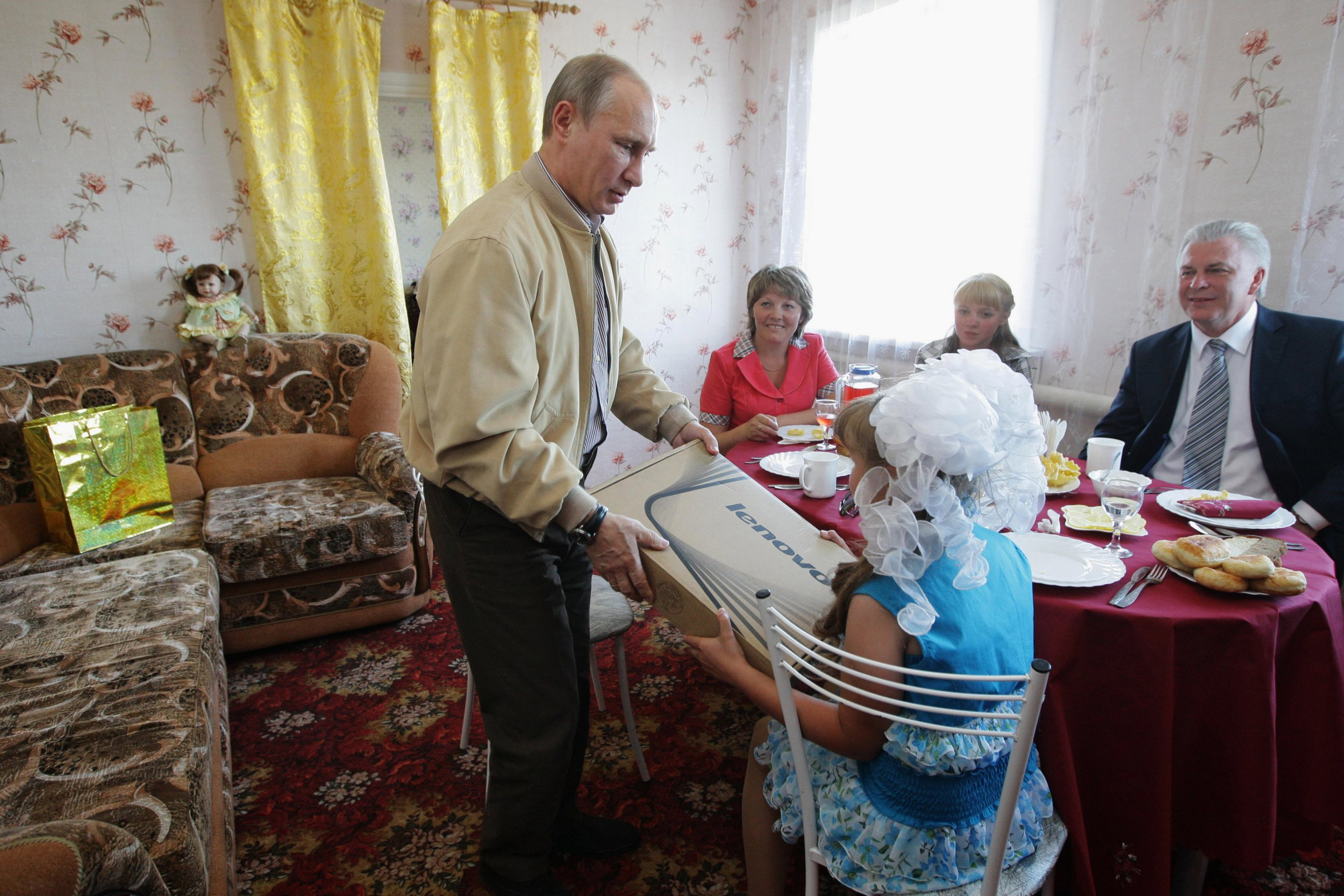 Putin with computer