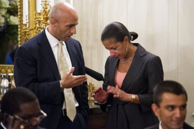 National Security Adviser Susan Rice (R) speaks with Yousef Al Otaiba