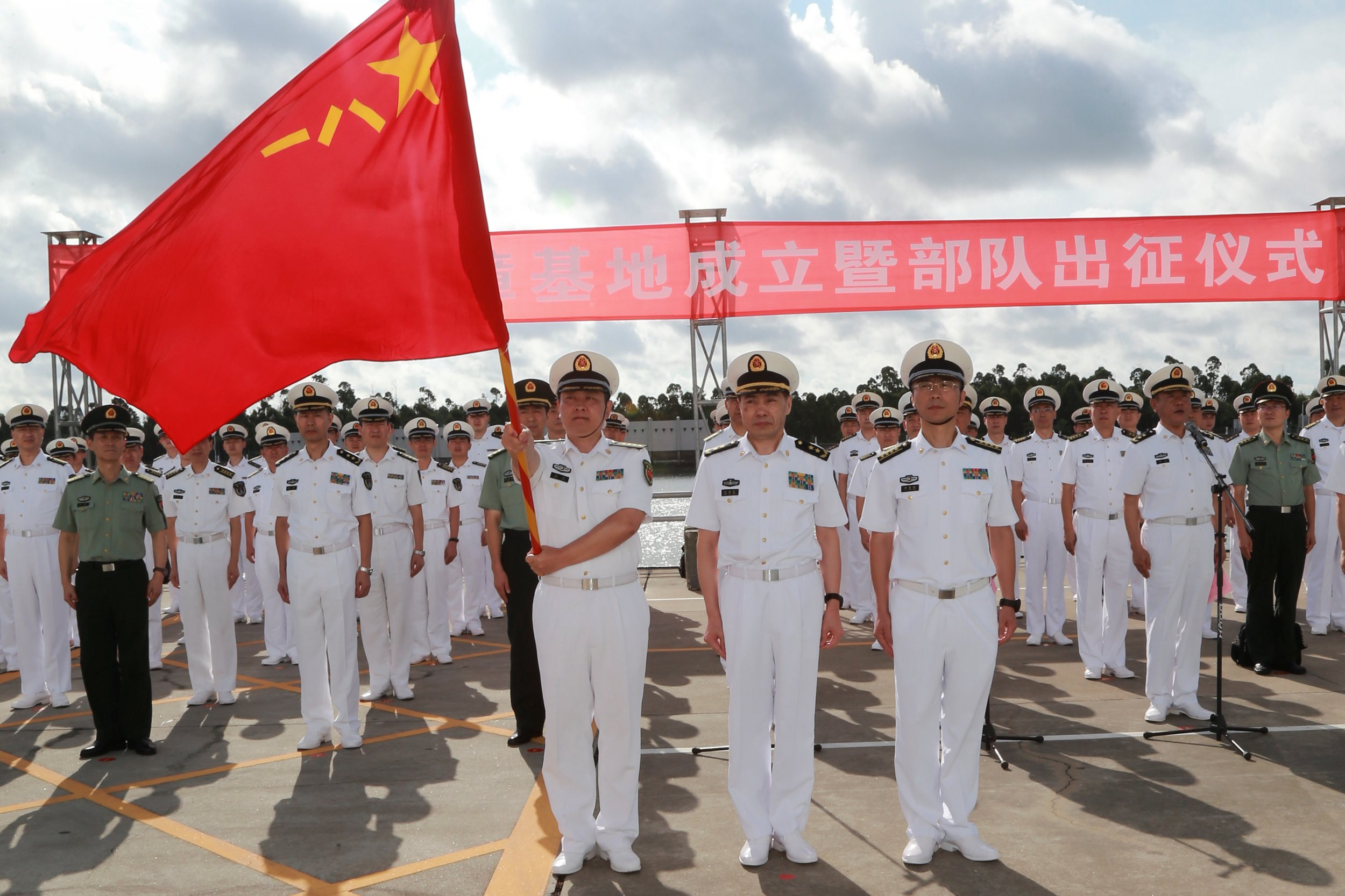 Chinese soldiers at port