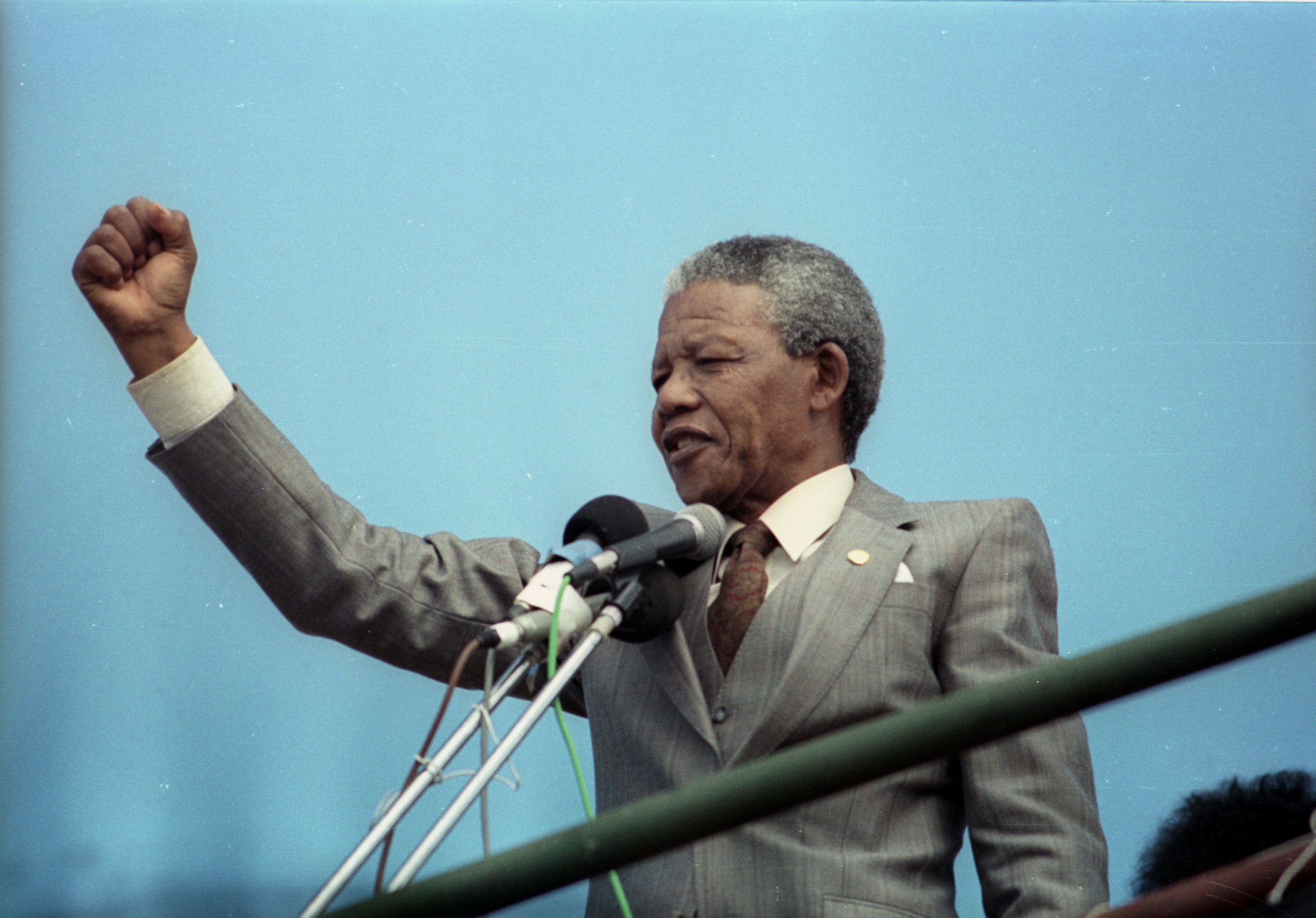 Nelson Mandela addresses crowd