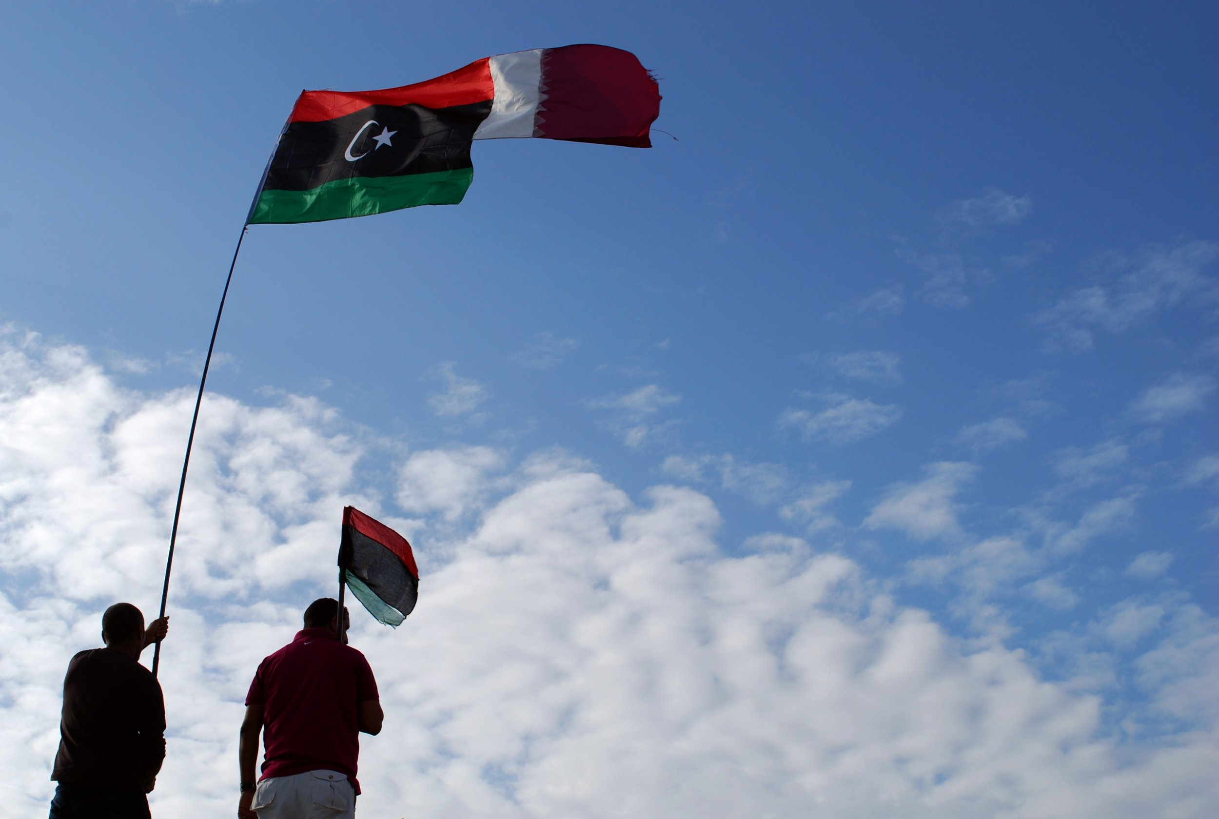 Libyan and Qatari flags