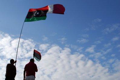 Libyan and Qatari flags