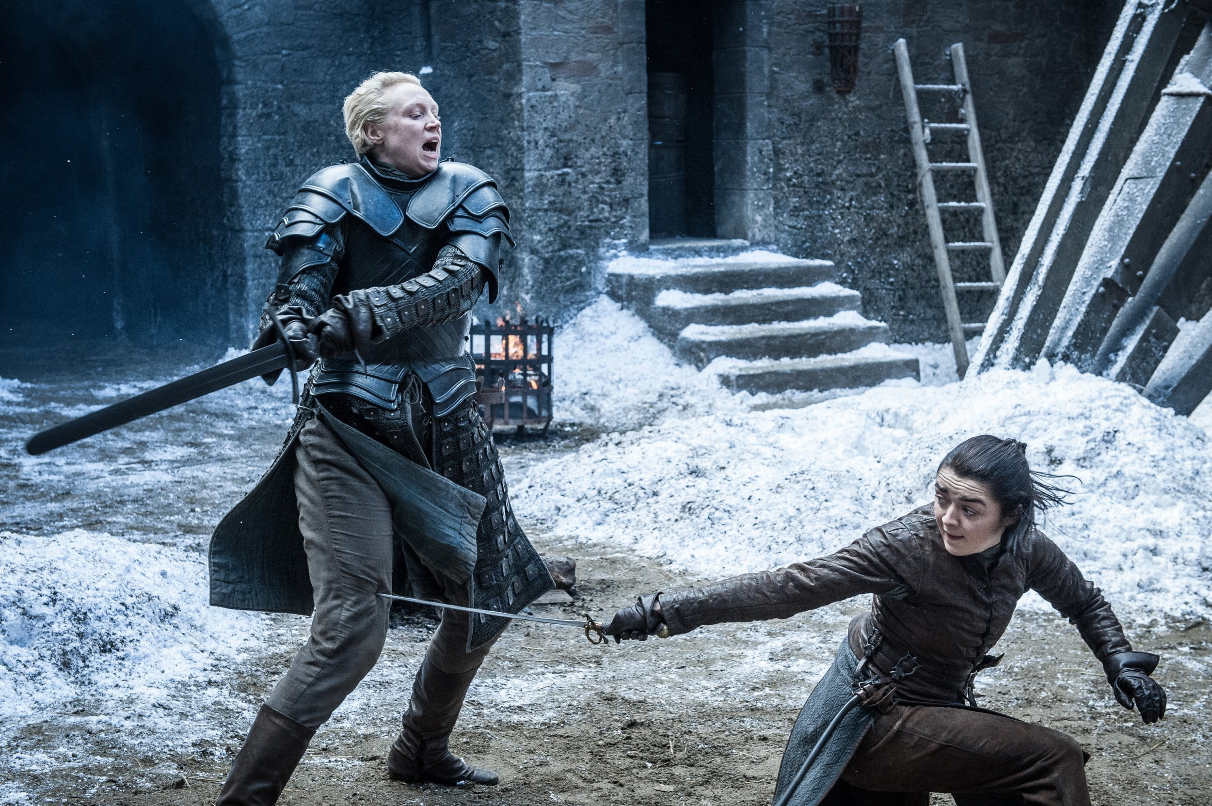 Brienne and Arya sword fight