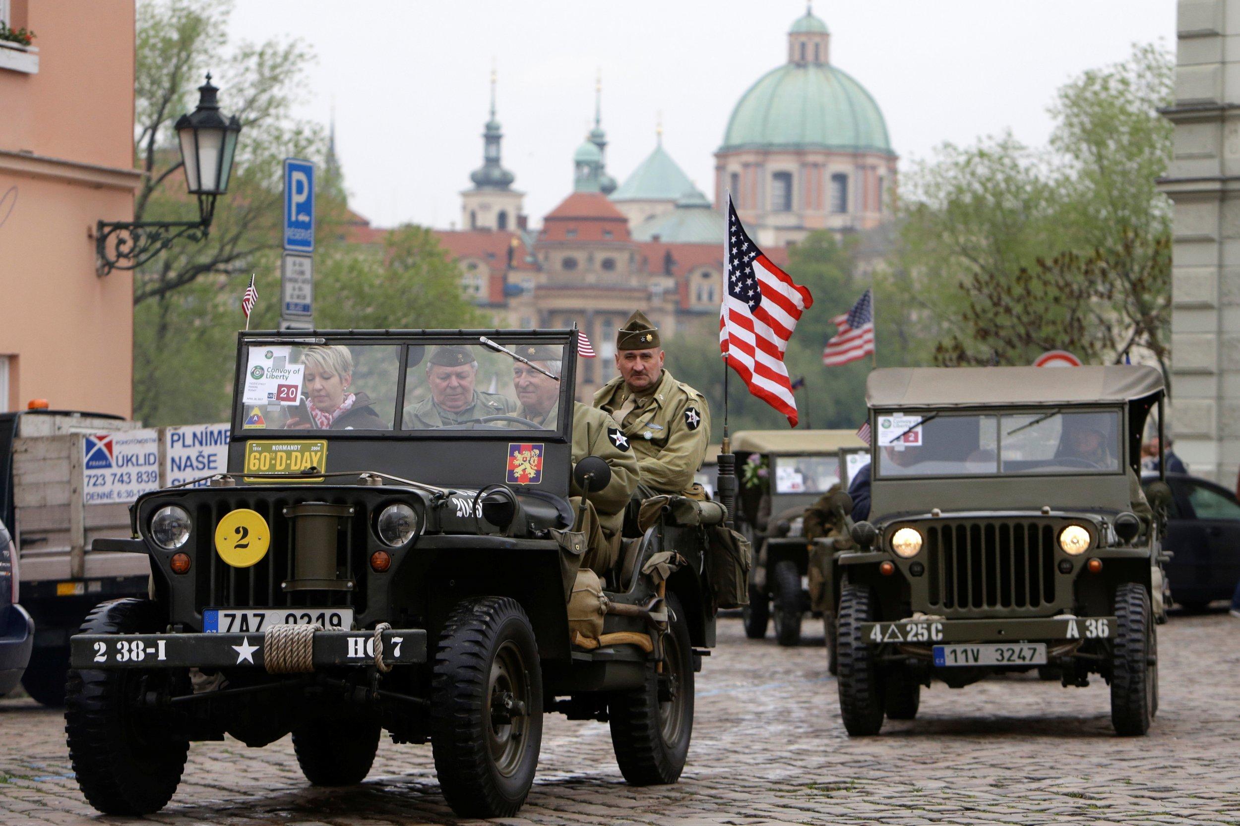 U.S. flag in Prague