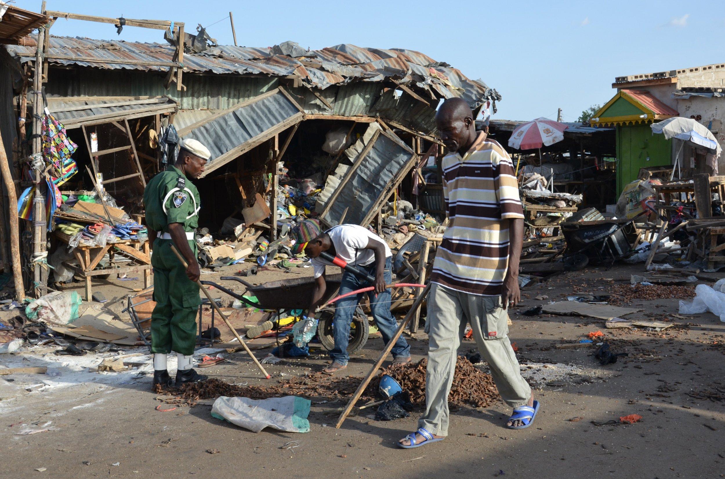 Suicide bomb aftermath Maiduguri Nigeria