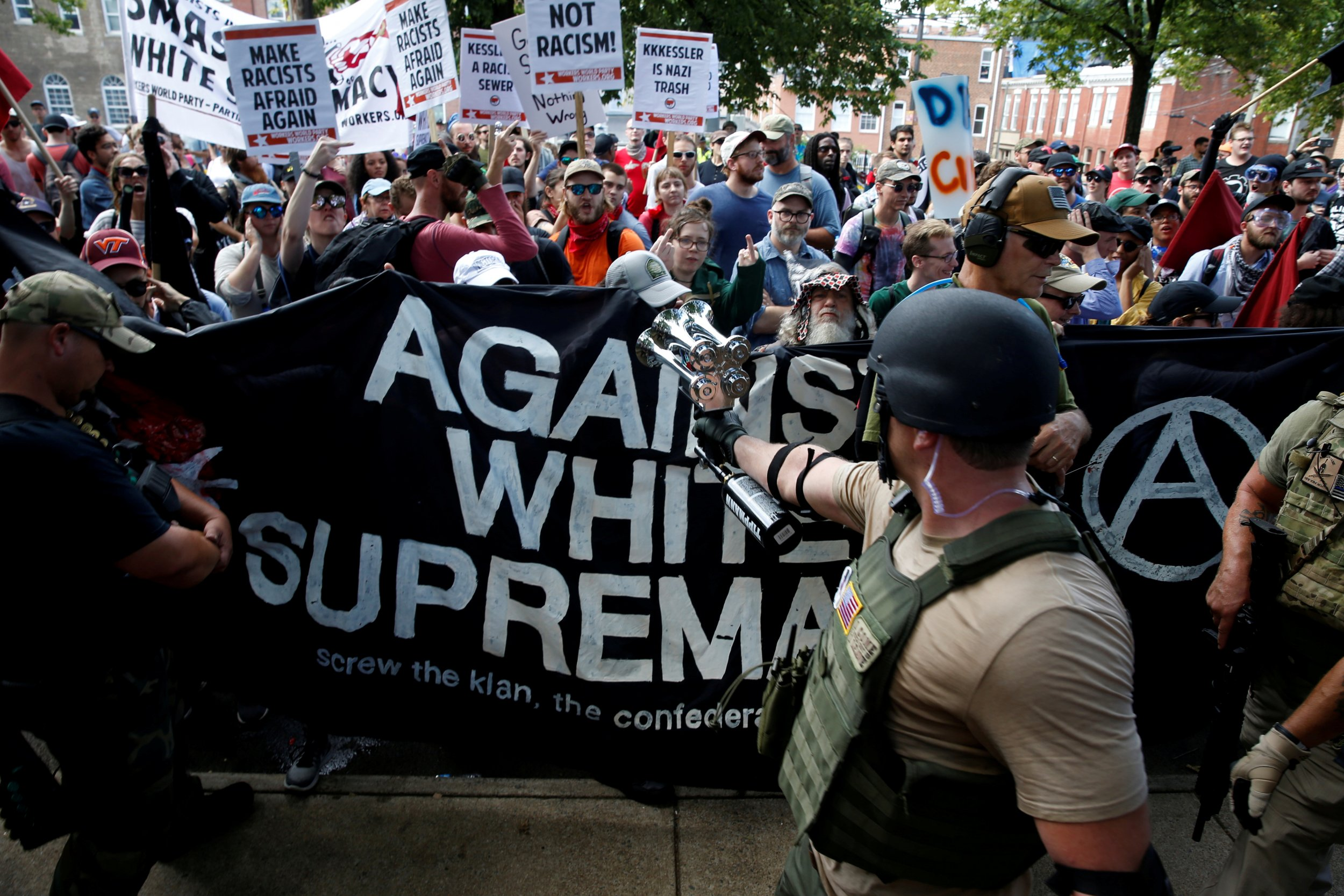 White nationalists and counter-protesters, Charlottesville, Virginia