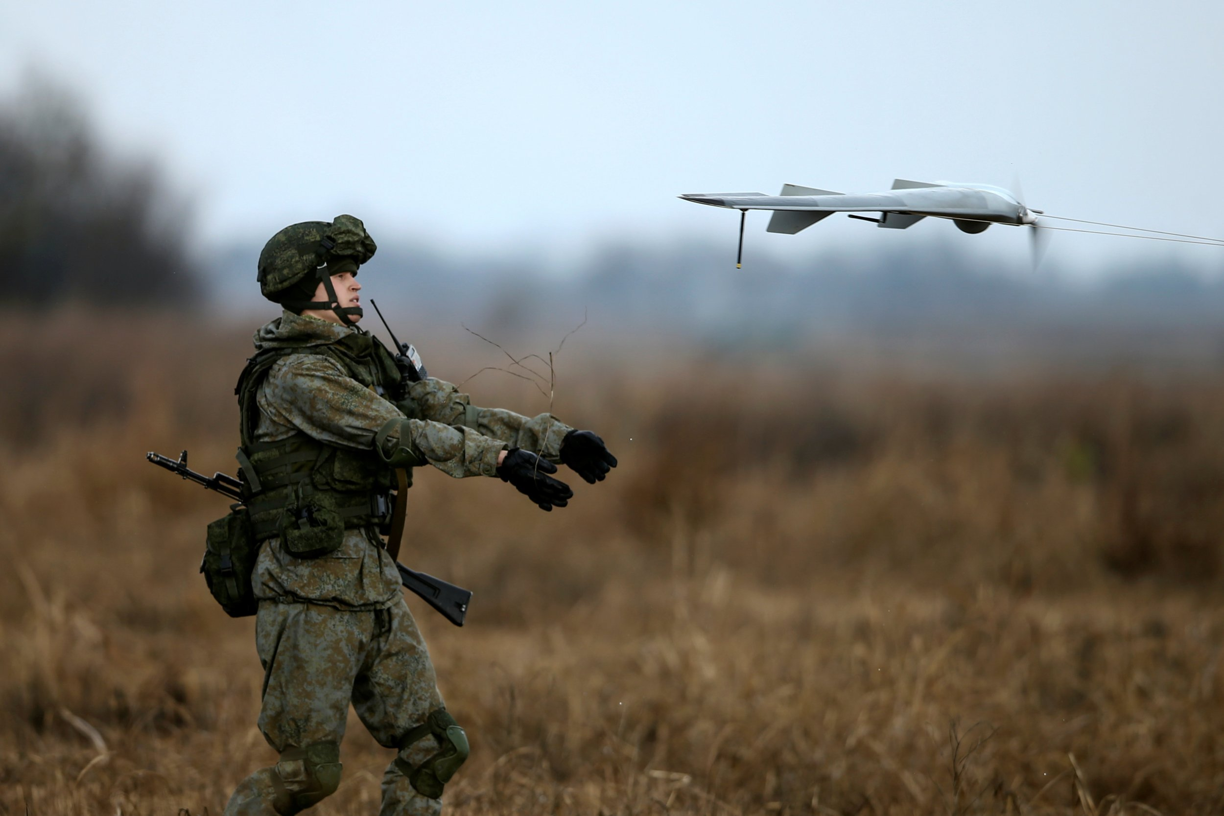 Russian soldier with drone