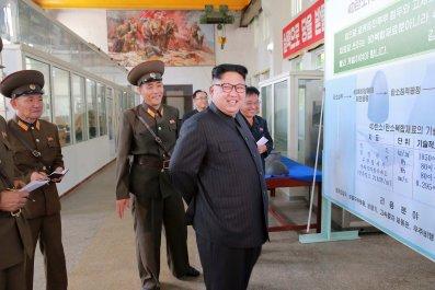Kim Jong Un poster warhead tips