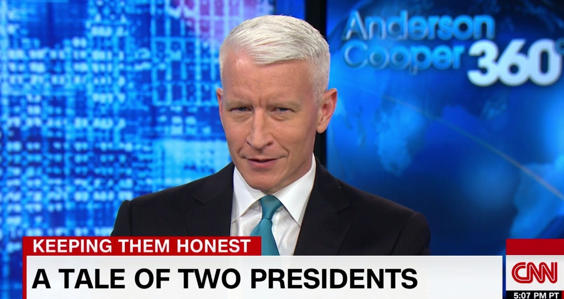 "Anderson Cooper blasts ""lying"" Trump"