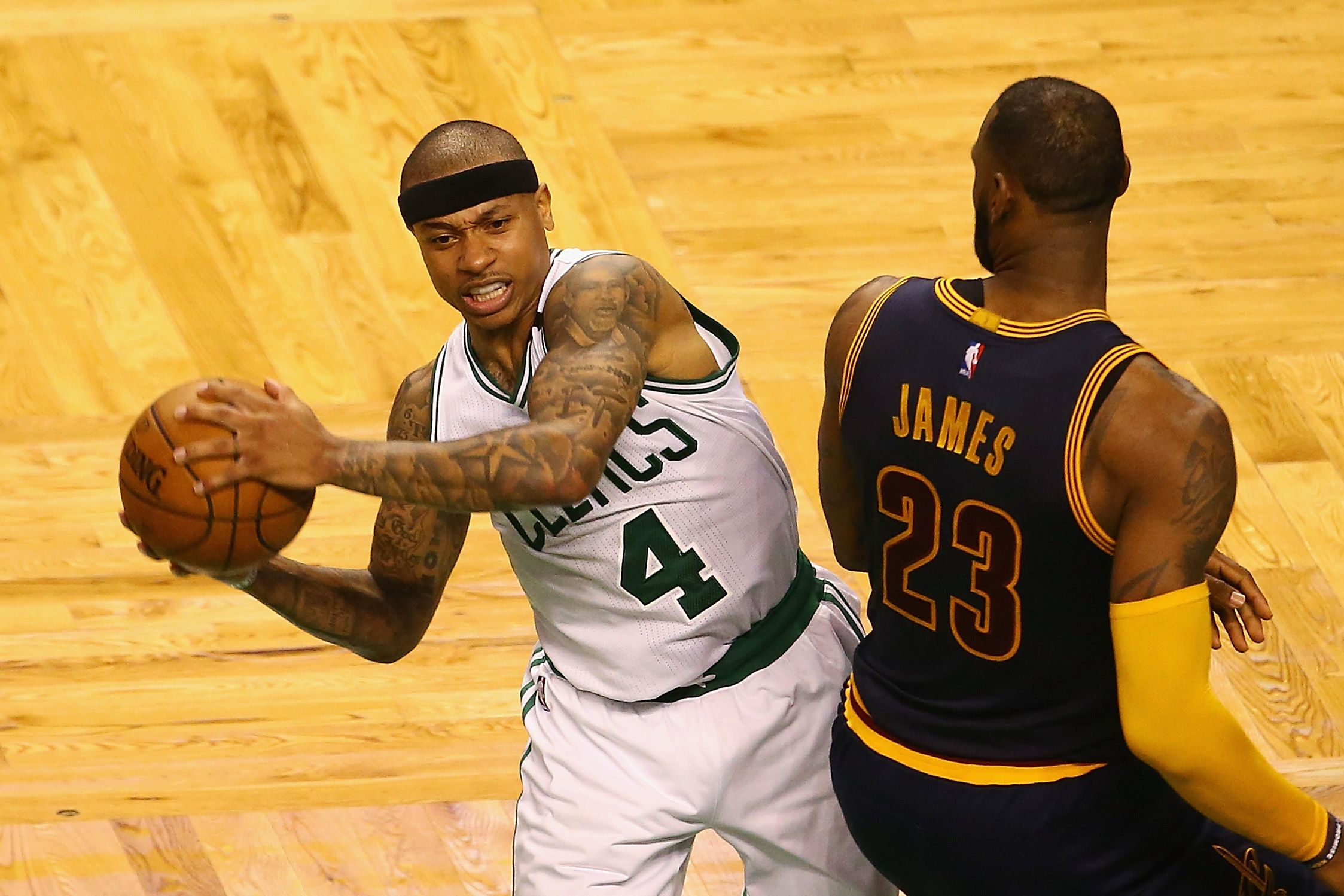 Isaiah Thomas, formerly of the Boston Celtics, with new Cleveland Cavaliers teammate LeBron James.