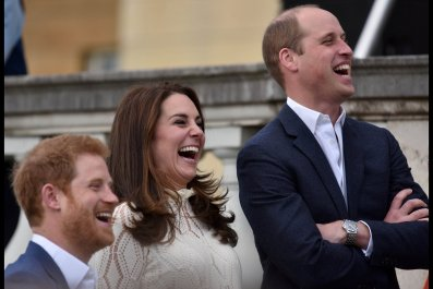 Princes William and Harry with Kate