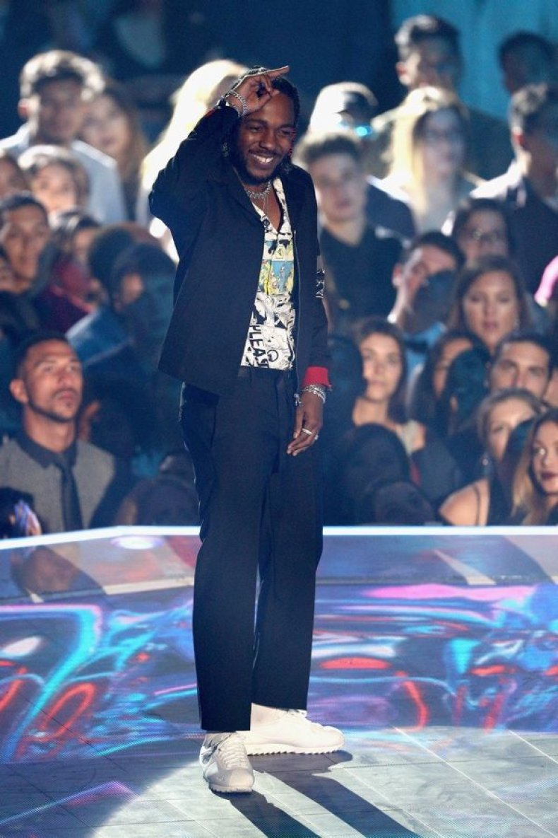 Kendrick Lamar poses onstage during the 2017 MTV Video Music Awards