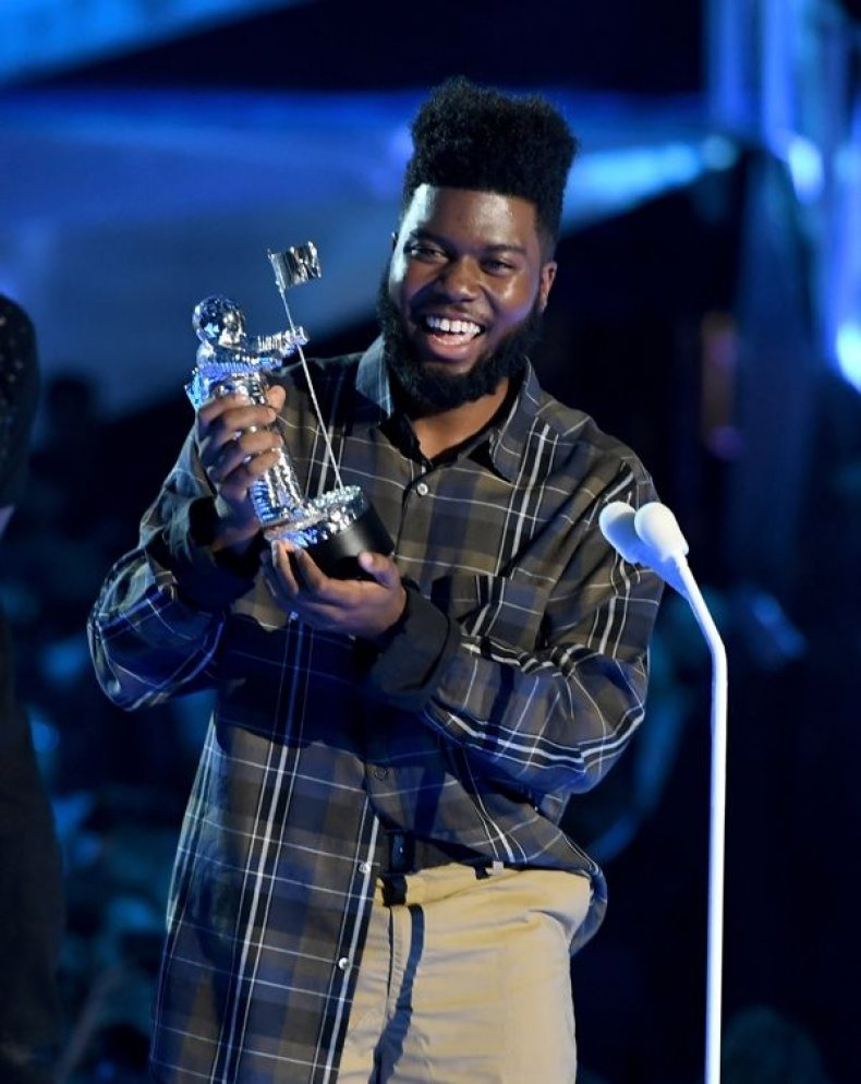 Khalid accepts the Best New Artist award onstage during the 2017 MTV Video Music Awards