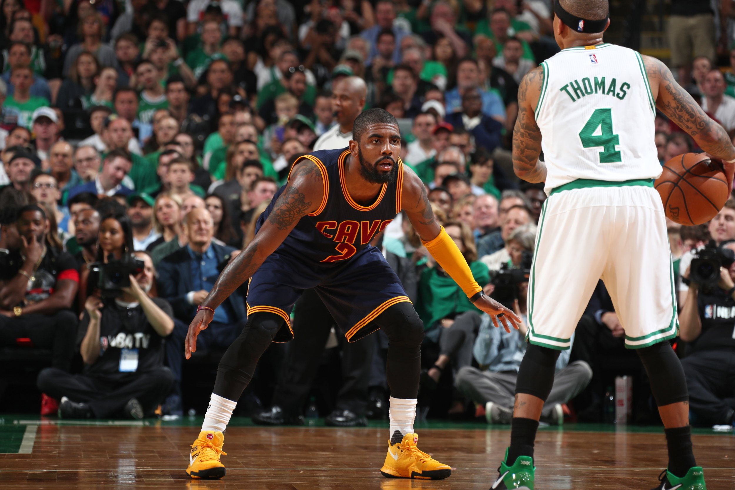 9fae019f7e82 Kyrie Irving of the Cleveland Cavaliers defends against Isaiah Thomas of  the Boston Celtics at Boston s TD Garden in on May 17. Nathaniel S.  Butler NBAE via ...