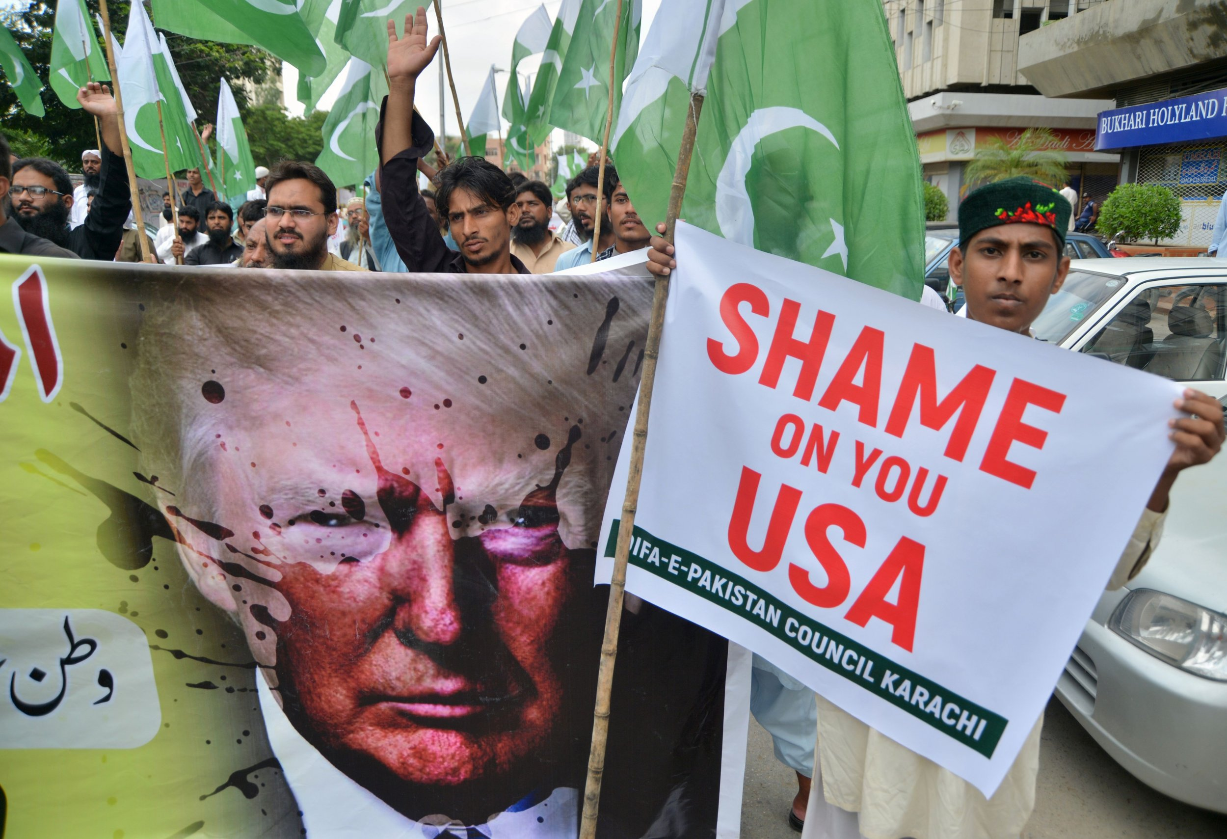 Pakistan Trump protest