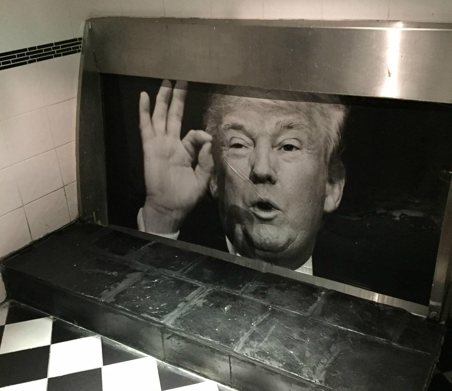 Donald Trump urinal poster in Dublin pub, the Adelphi